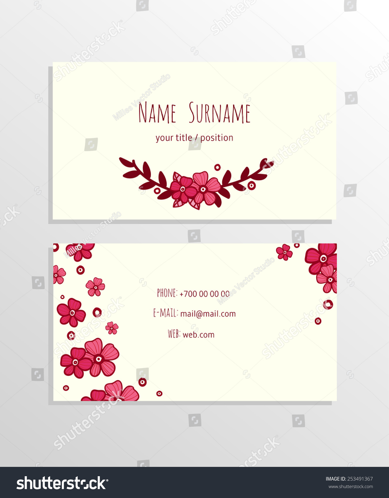 Modern Simple Floral Business Card Template Stock Vector 253491367 ...