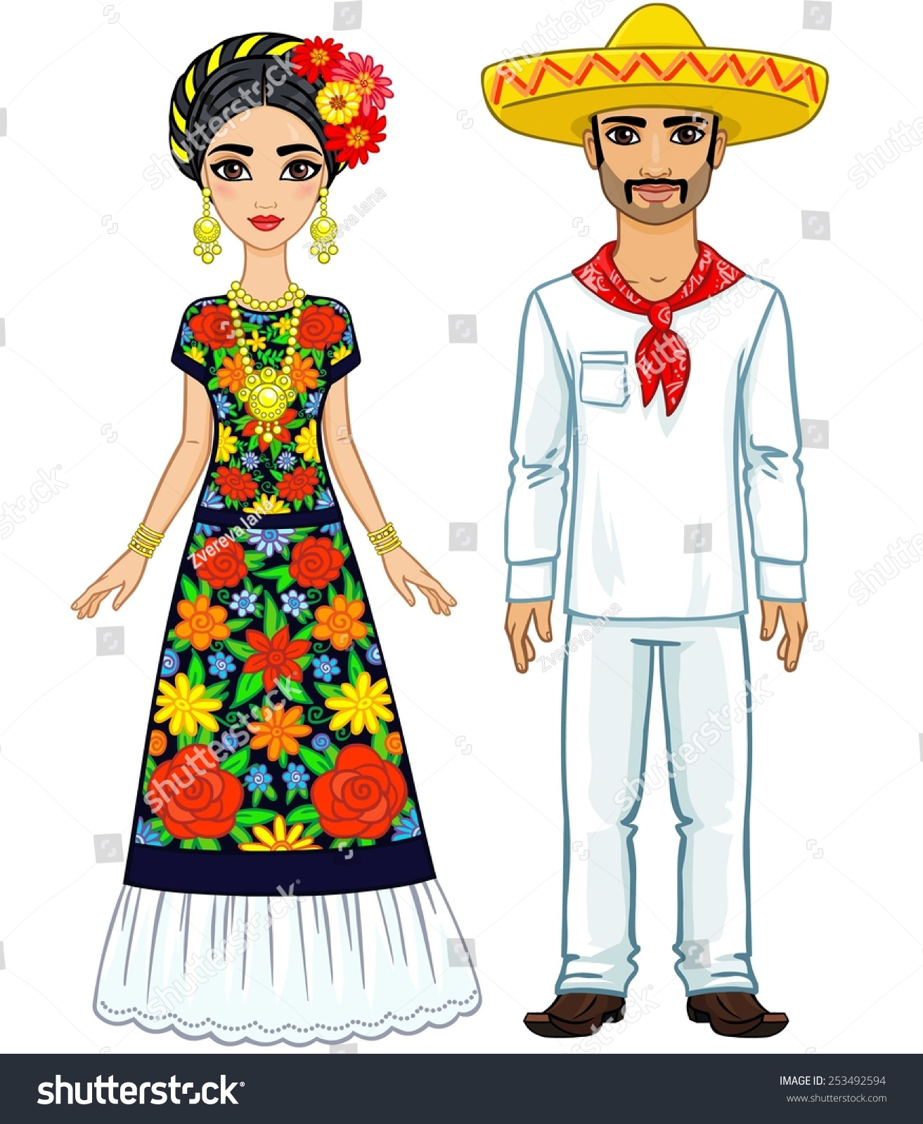 Mexican Family In Traditional Clothes Isolated On A White Background