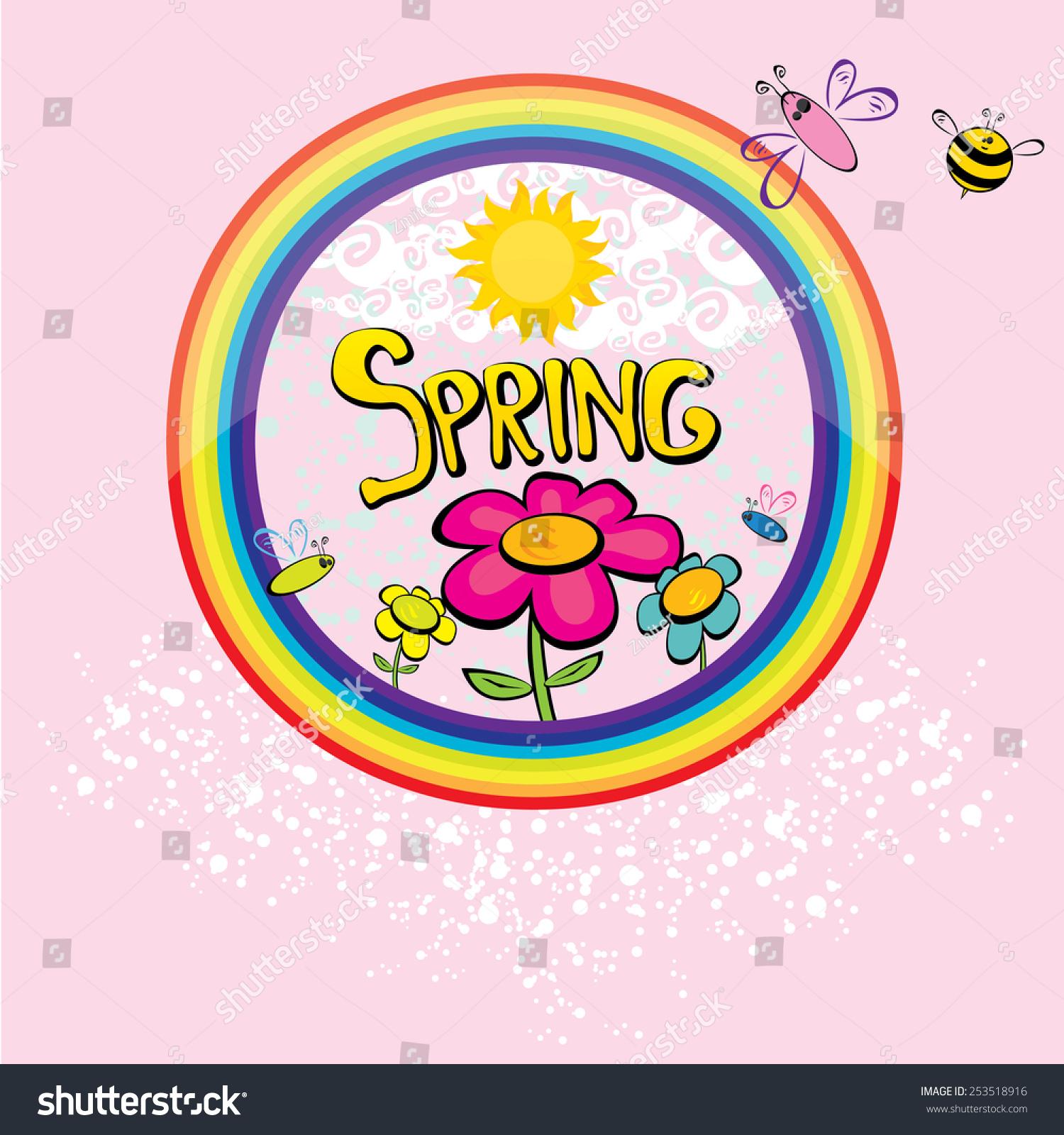 Cartoon Spring Word Flowers Butterfly Vector Stock Vector 253518916