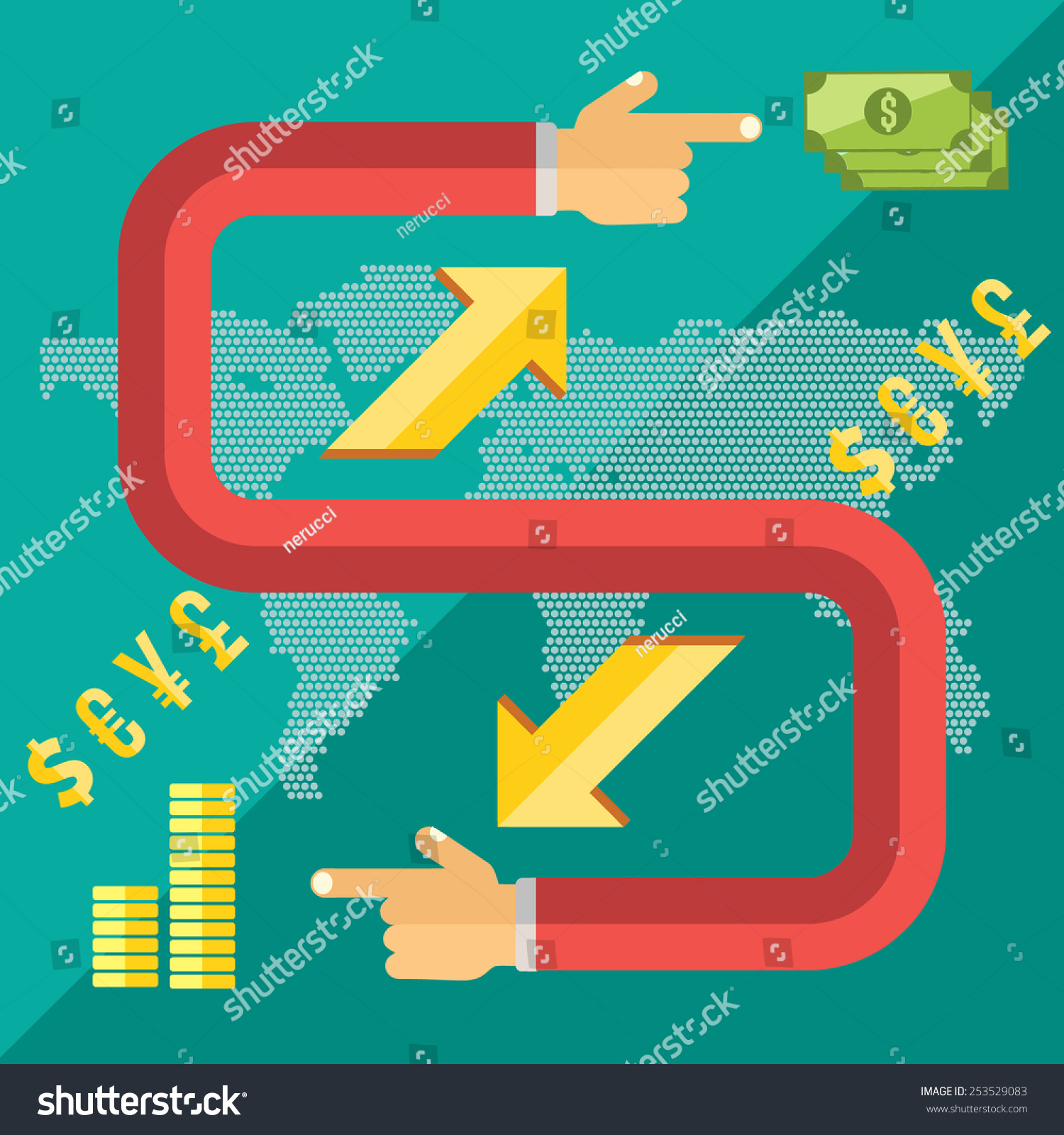 Flat design style modern vector illustration stock vector 253529083 flat design style modern vector illustration concept of world currency exchange converting money with yen buycottarizona Gallery