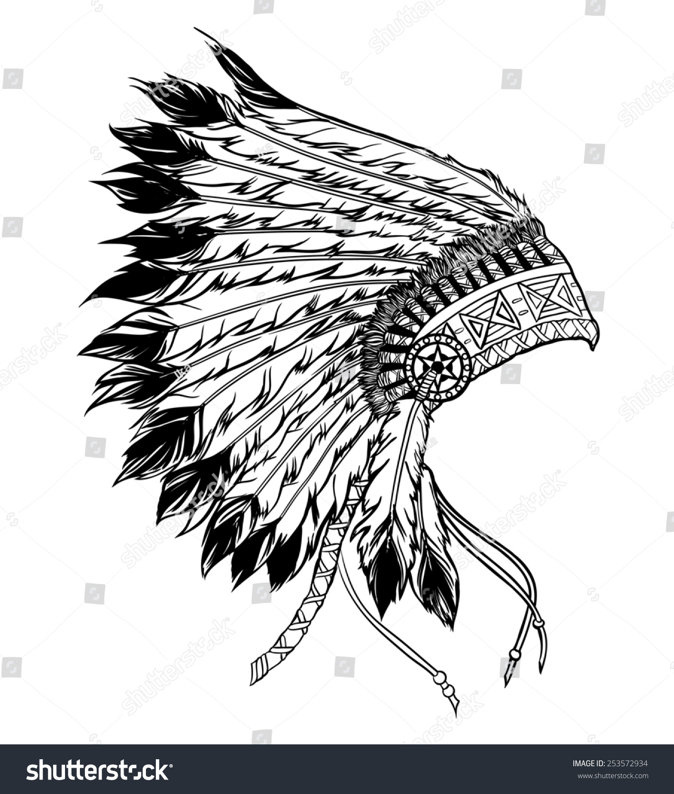Native american indian chief headdress stock photo 253572934
