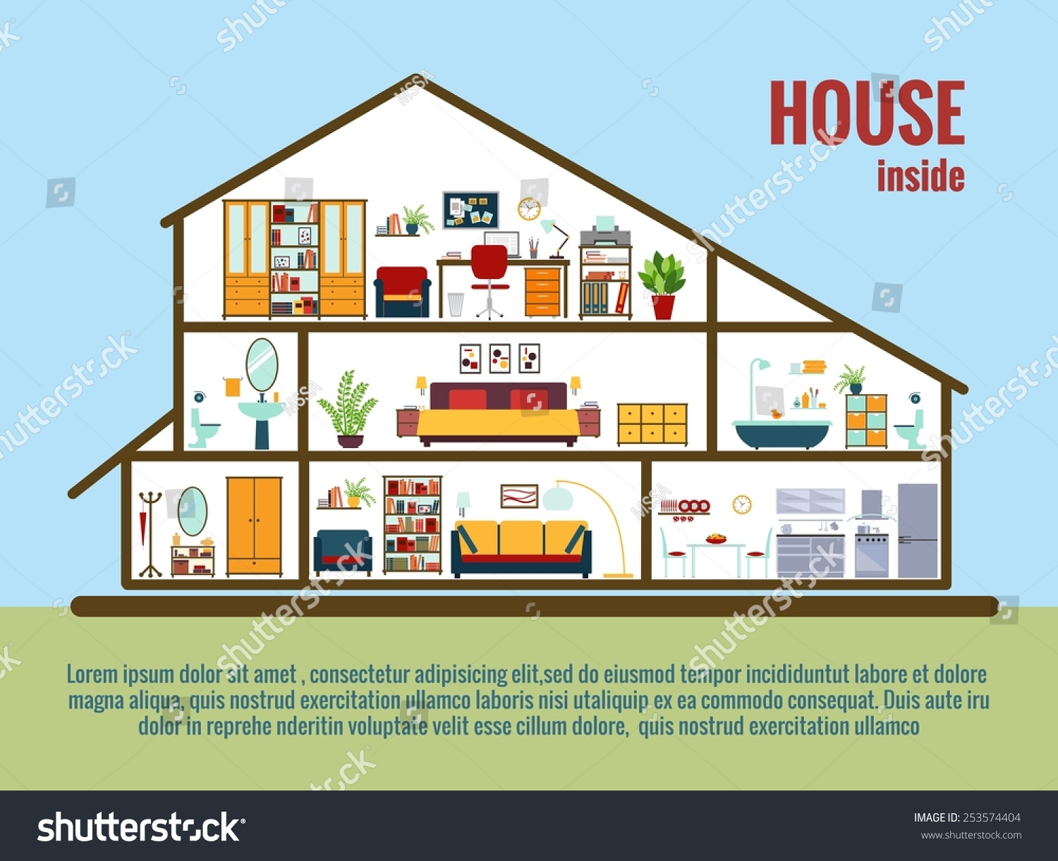 All rooms in the house rooms of homes vector art image illustration - Vector House Interior House Plan Cross Sectional View Room And Bath Kitchen