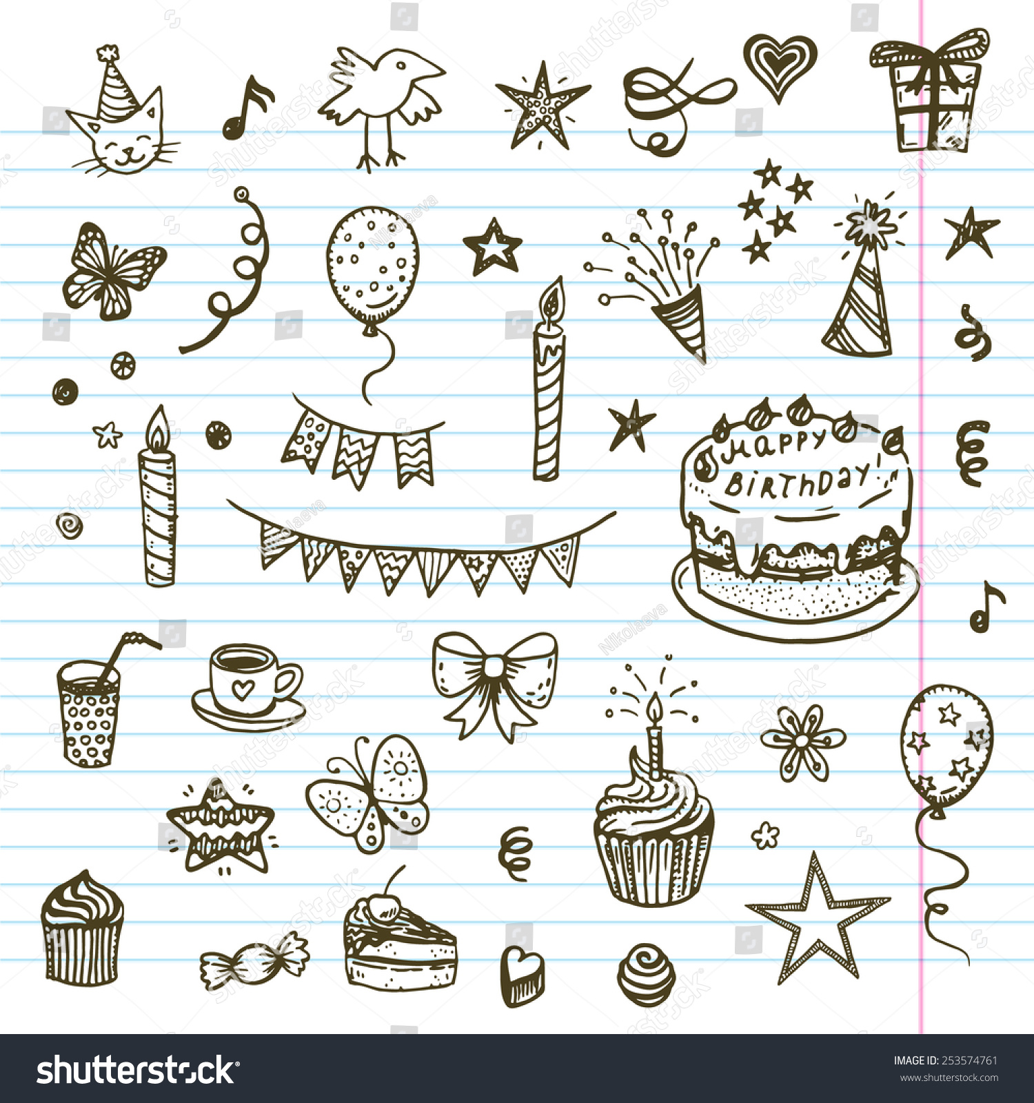 Royalty Free Birthday Elements Hand Drawn Set With 253574761