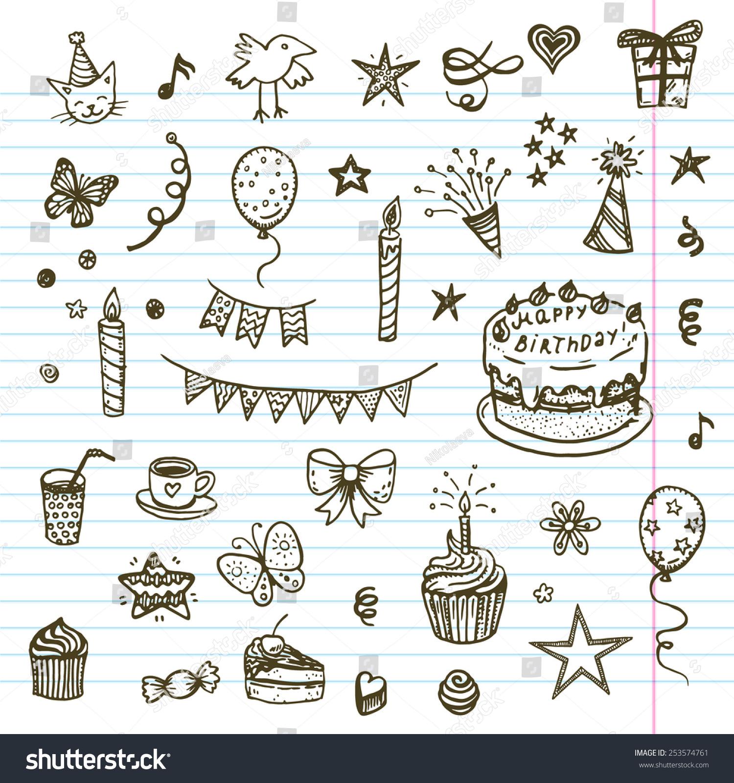 Birthday Elements Hand Drawn Set Birthday Stock Vector Royalty Free