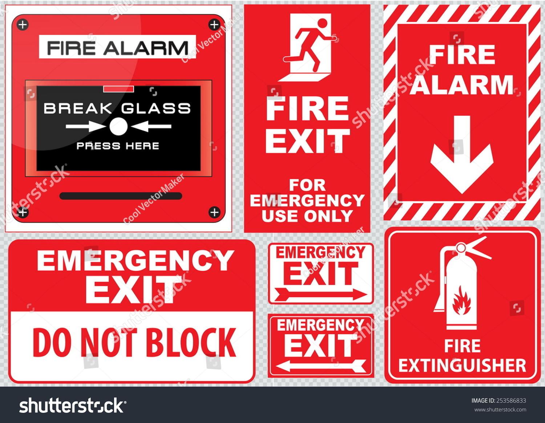 set fire alarm fire alarm break stock vector 253586833