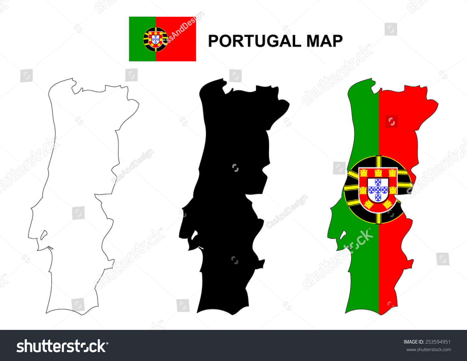 Portugal Map Vector Portugal Flag Vector Stock Vector - Portugal map vector
