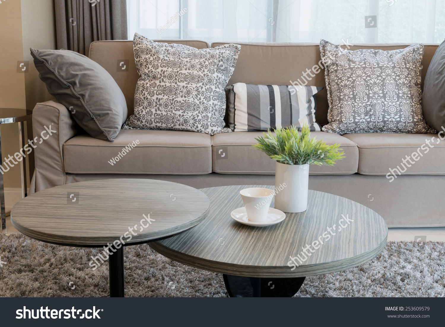 Sturdy Brown Tweed Sofa Grey Patterned Stock Photo 253609579 ...
