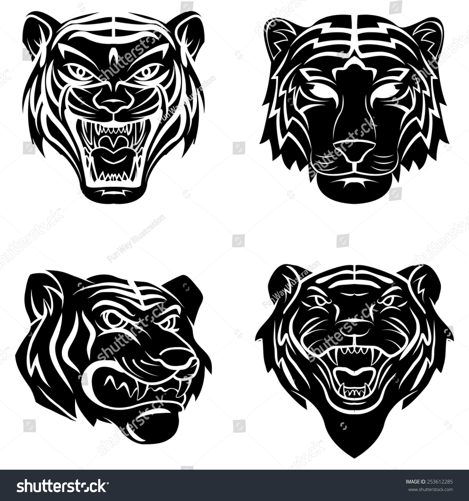 Tattoo symbol tiger stock vector 253612285 shutterstock tattoo symbol of tiger biocorpaavc