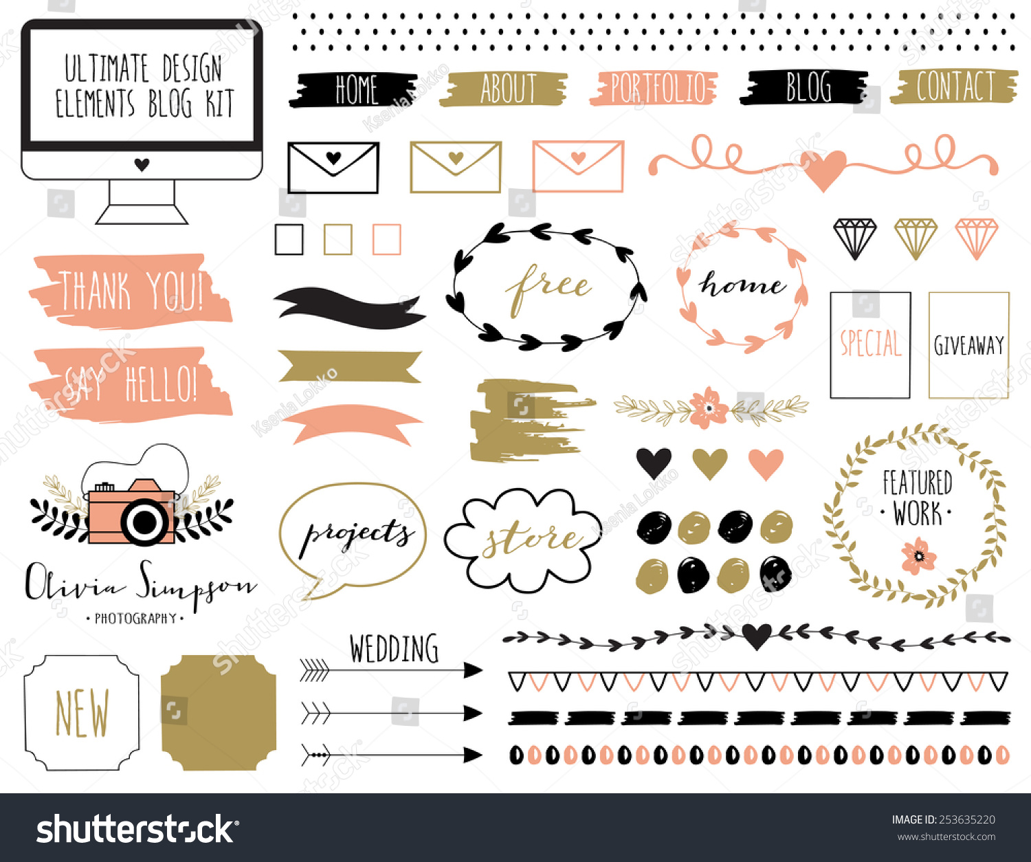 Ultimate Design Elements Blog Kit Your Stock Vector