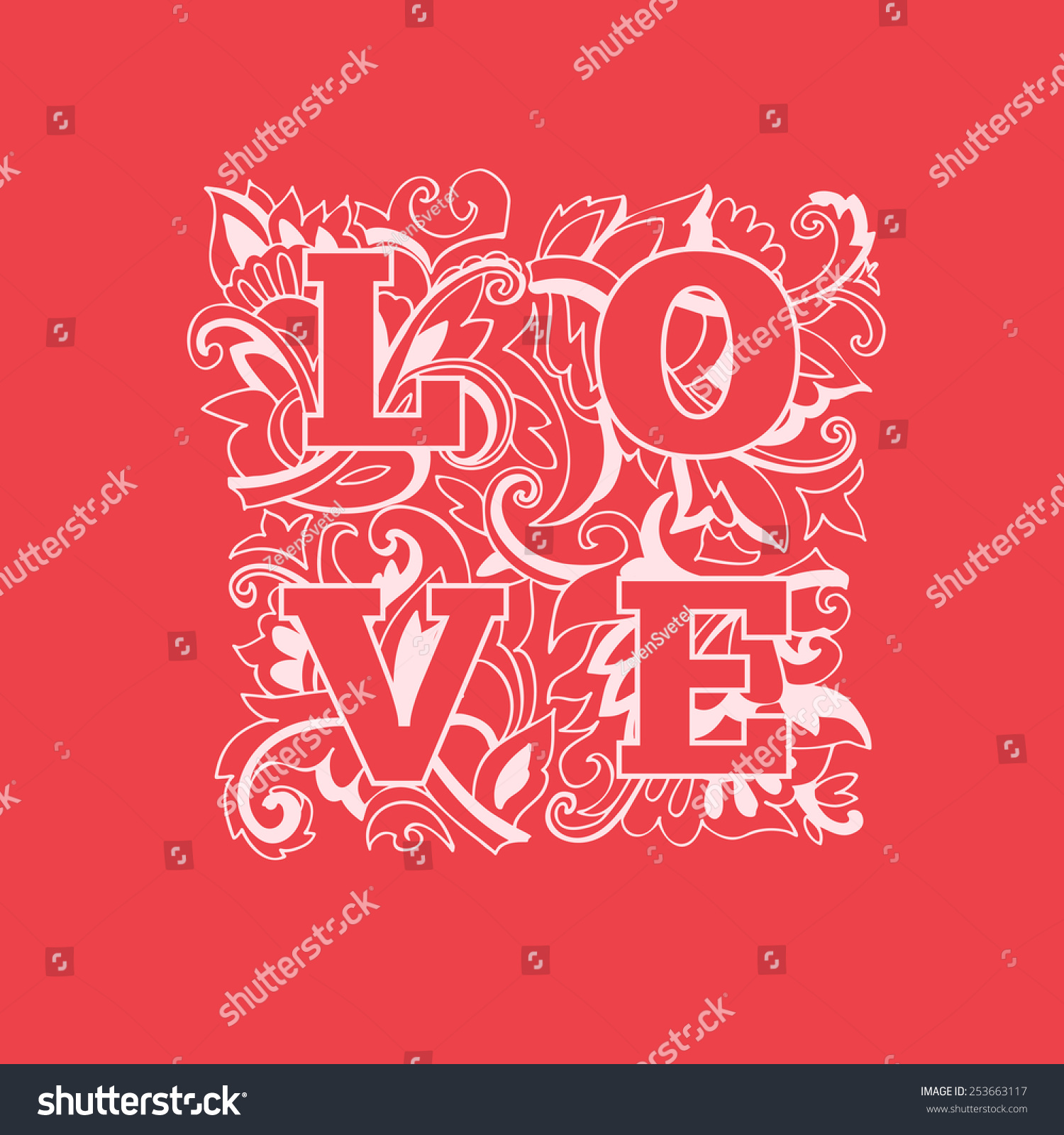 Love word on patterned background. Romantic decorative postcard ...