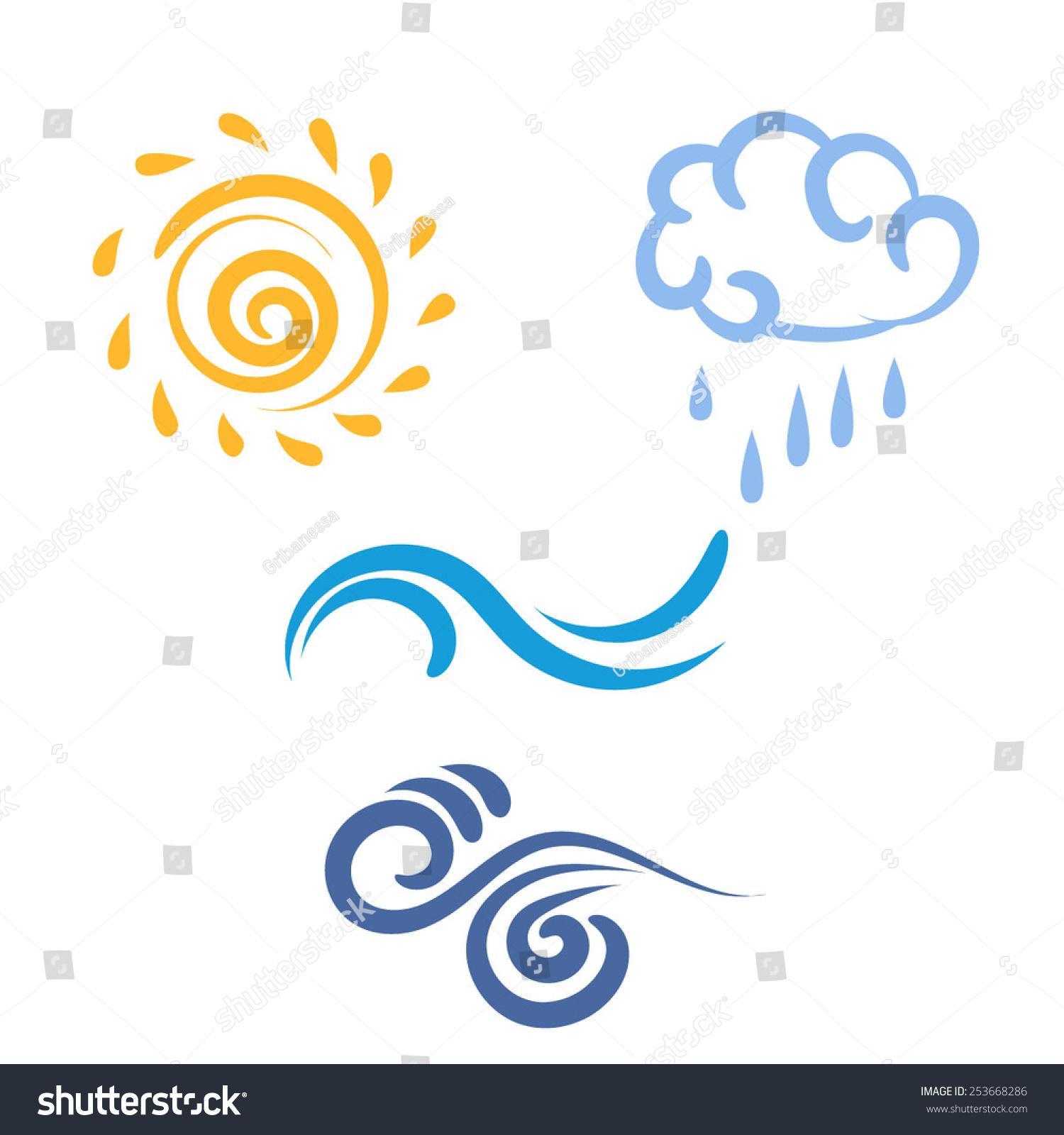 icon sun rain cloud wind waves stock vector 253668286