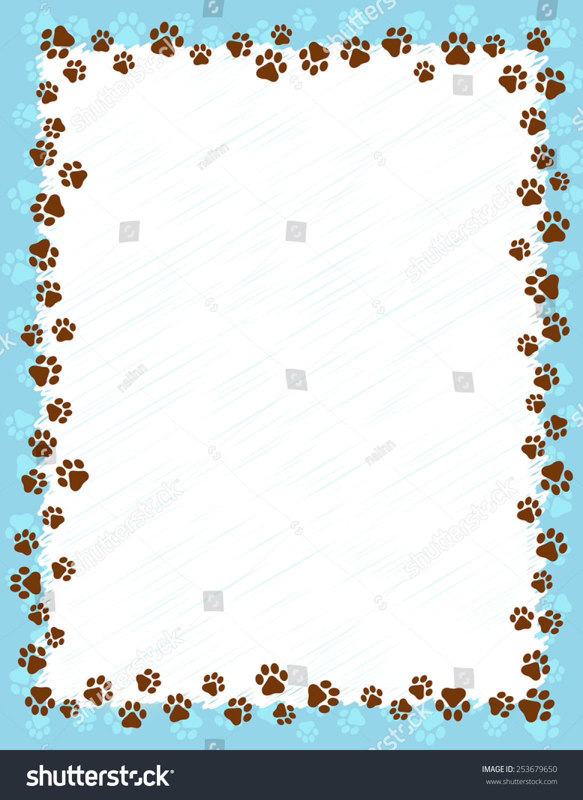 Dog Paw Prints Border Frame On Stock Vector Royalty Free 253679650