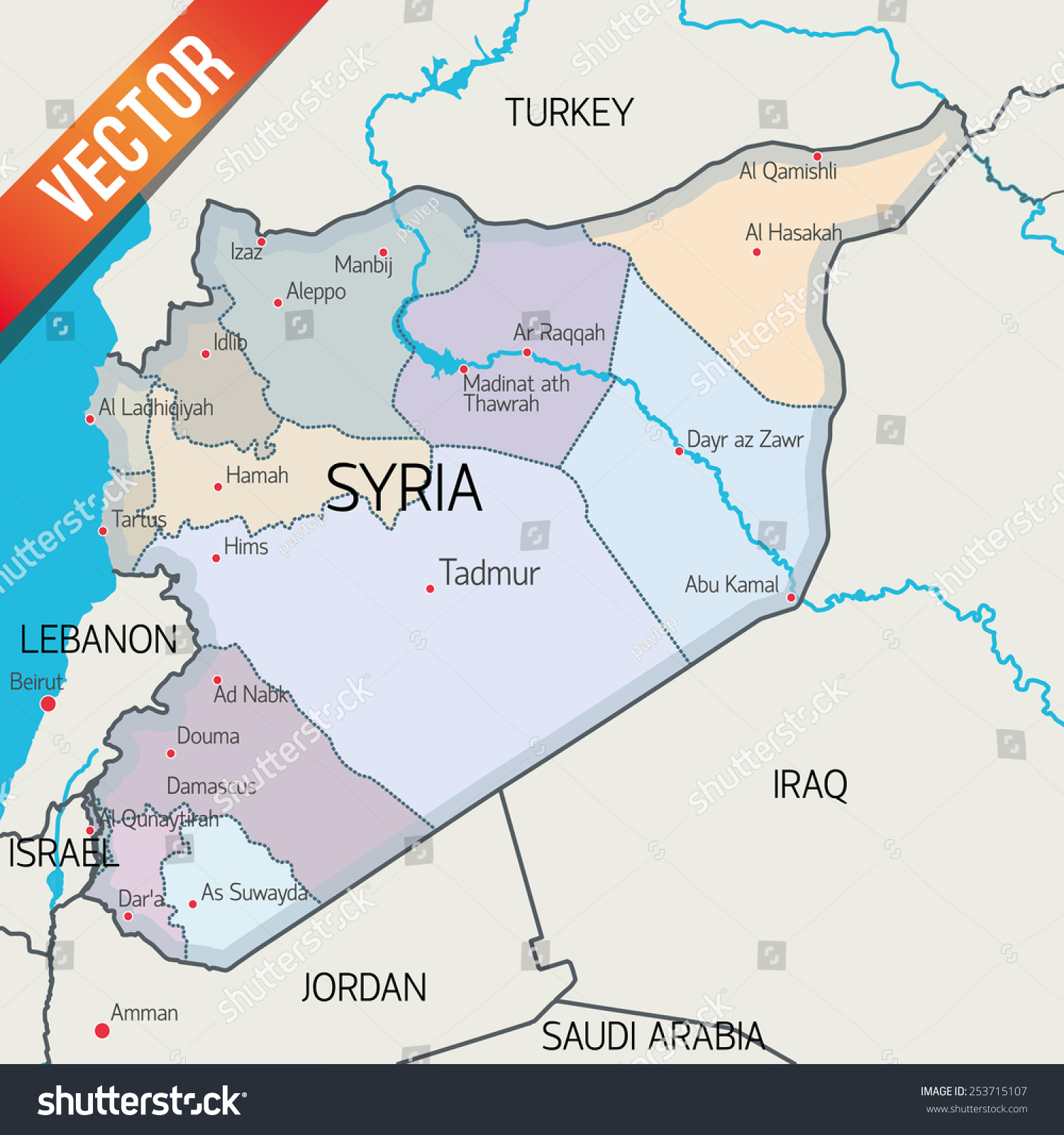 Syria Vector Map Stock Vector Shutterstock - Qamishli map