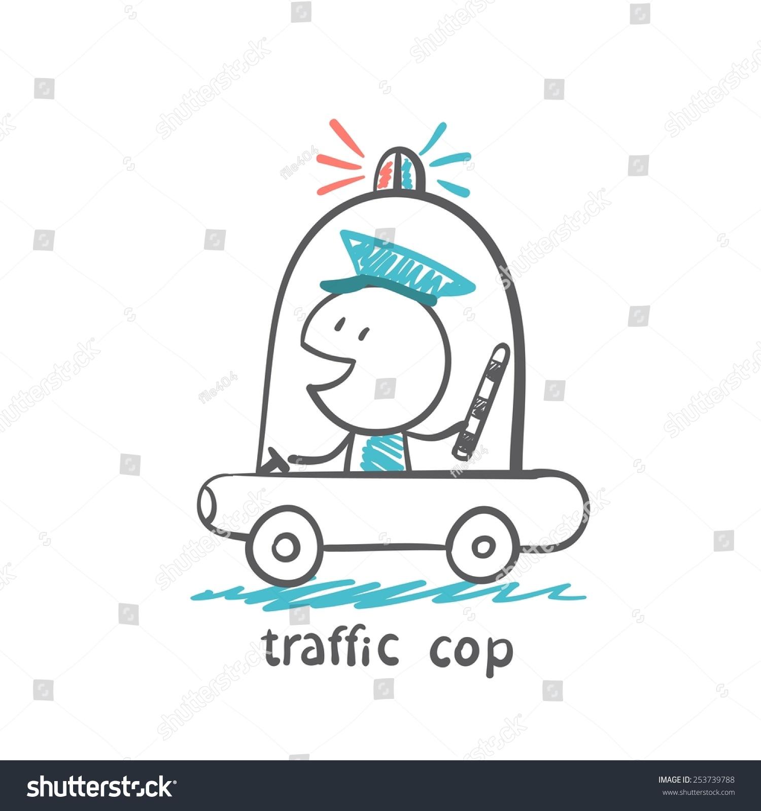 Traffic Cop Police Car Illustrator Stock Vector 253739788 - Shutterstock