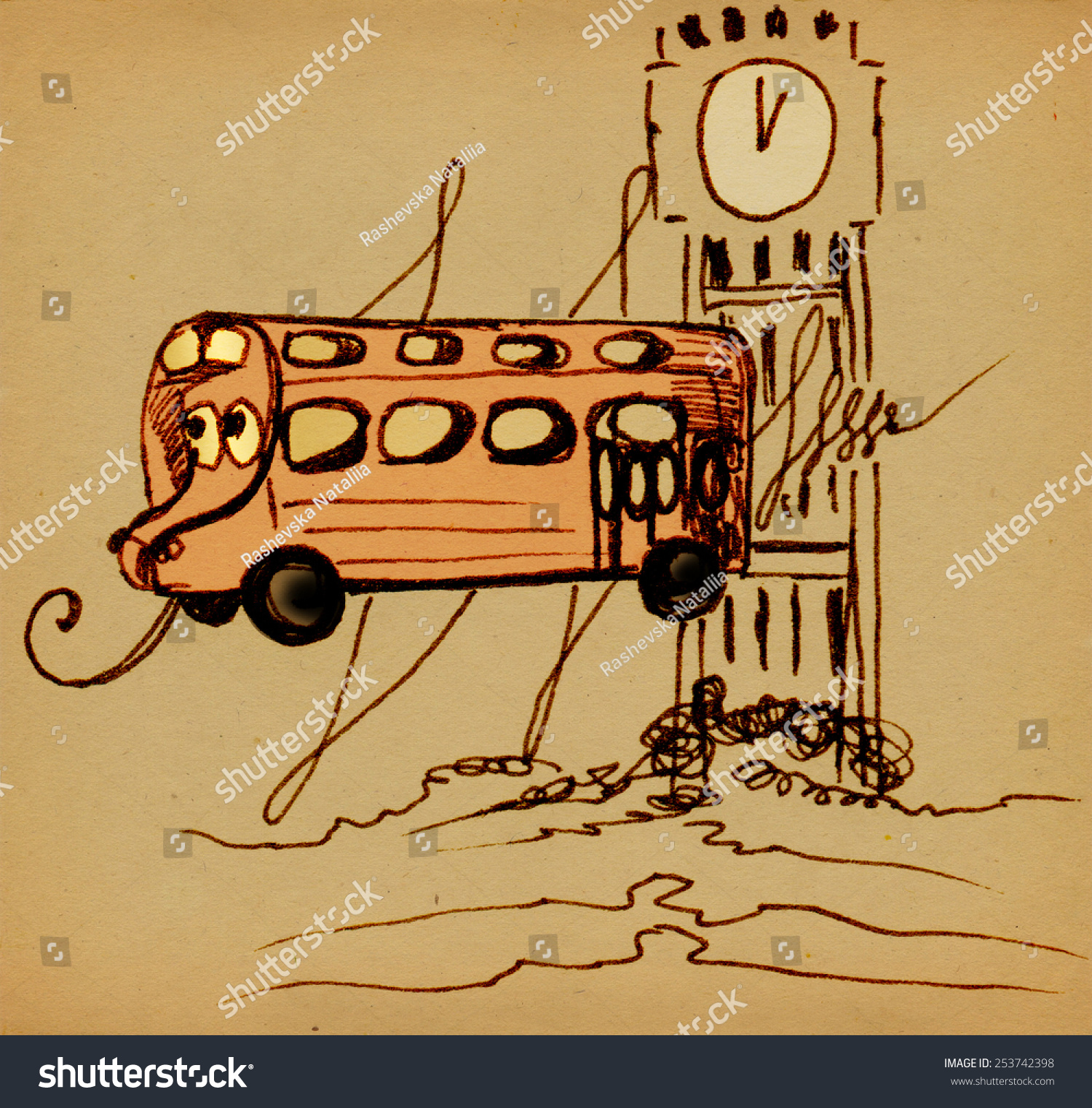 Funny bus eyes on background big stock illustration 253742398