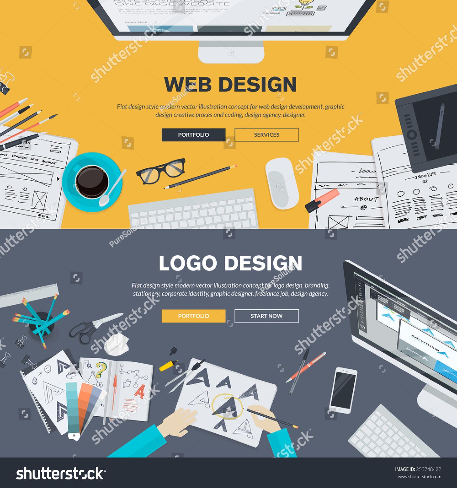Vector graphic design business logo - Set Of Flat Design Illustration Concepts For Web Design Development Logo Design Graphic Design