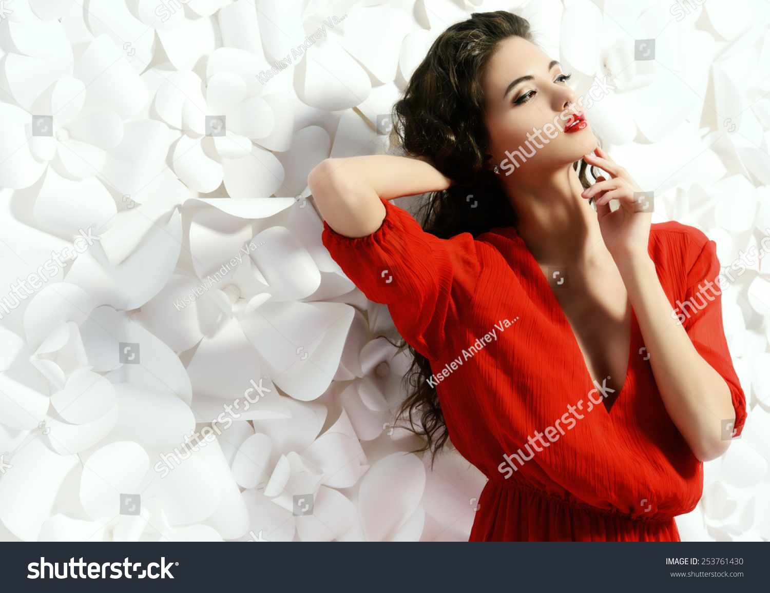 Gorgeous Fashion Model Bright Red Dress Stock Photo