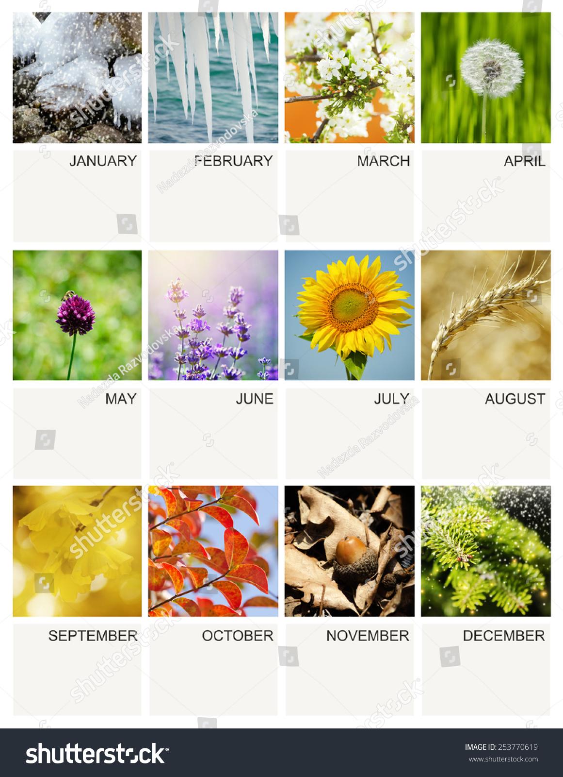 Every Year Calendar : Empty every year calendar template with seasonal my own