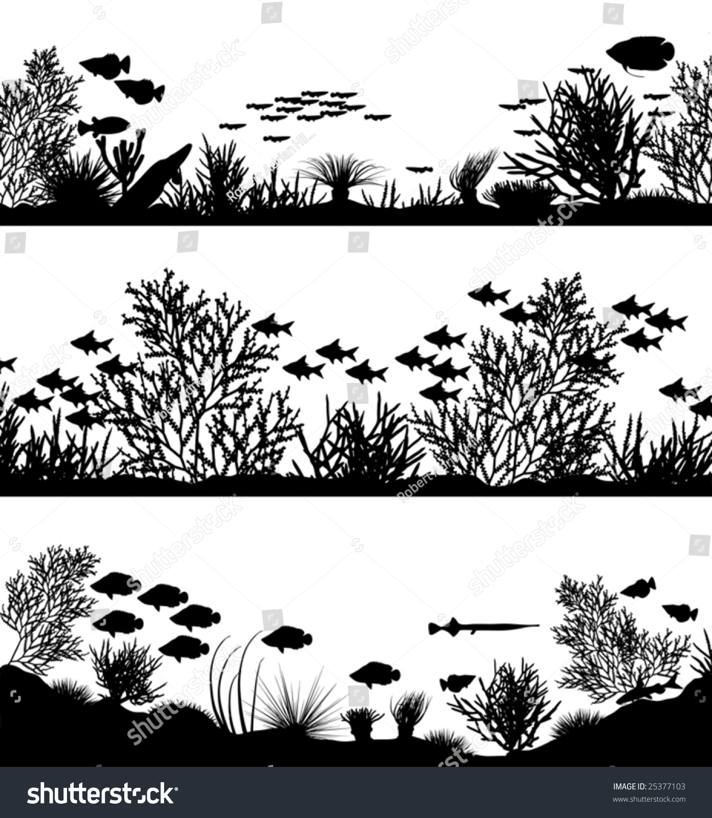 three editable vector sea coral silhouette stock vector