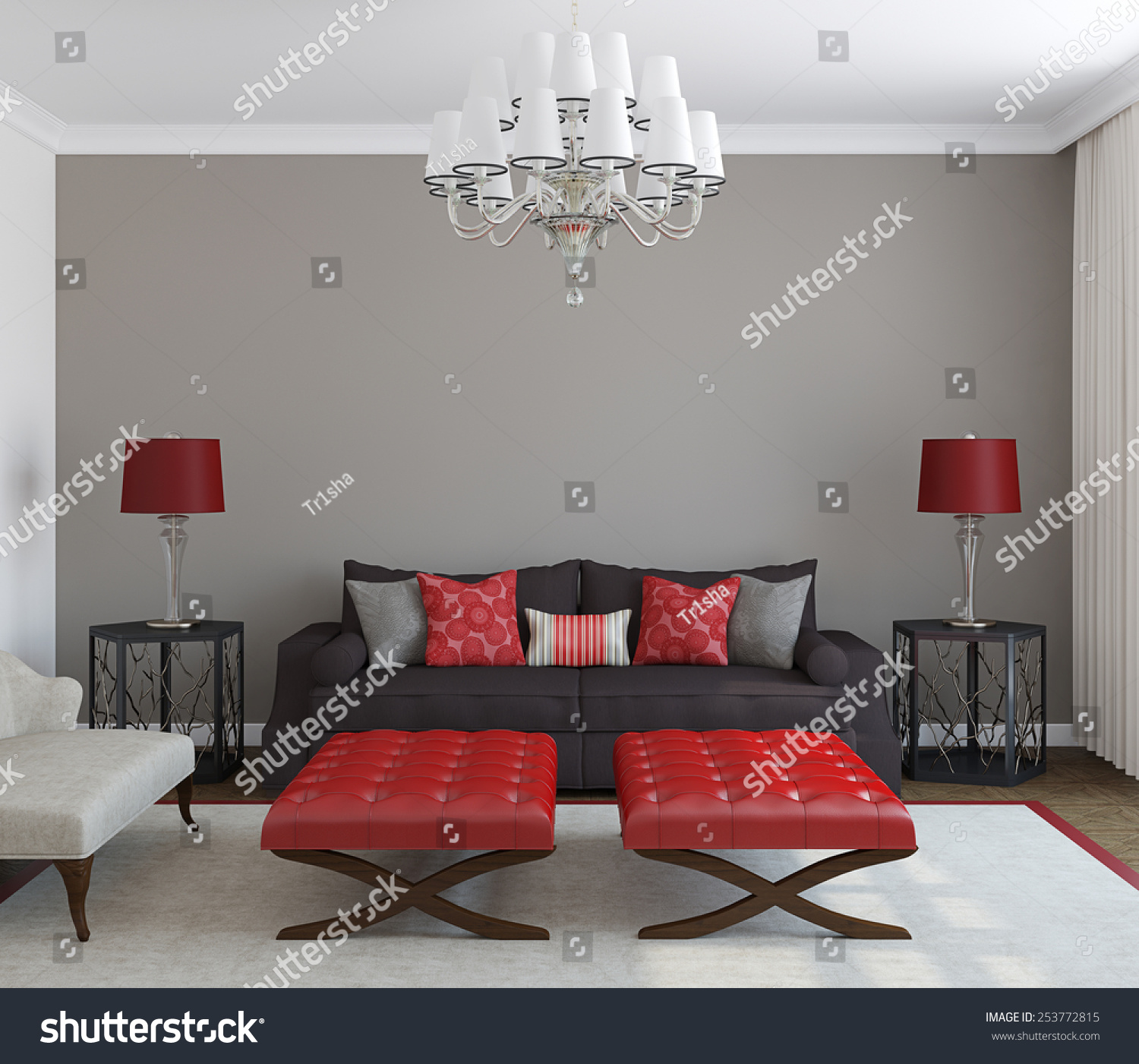 Modern living room interior frontal view 3d render for Living room 3d view