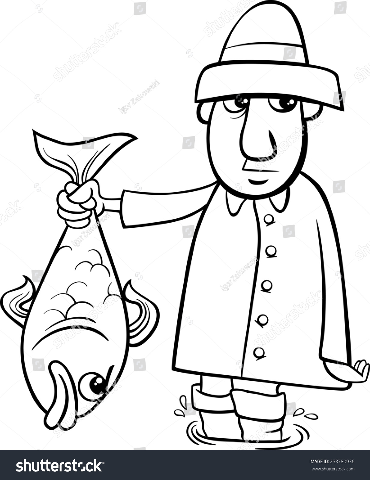 Black And White Cartoon Illustration Of Angler Or Fisherman With Big Fish For Coloring Book