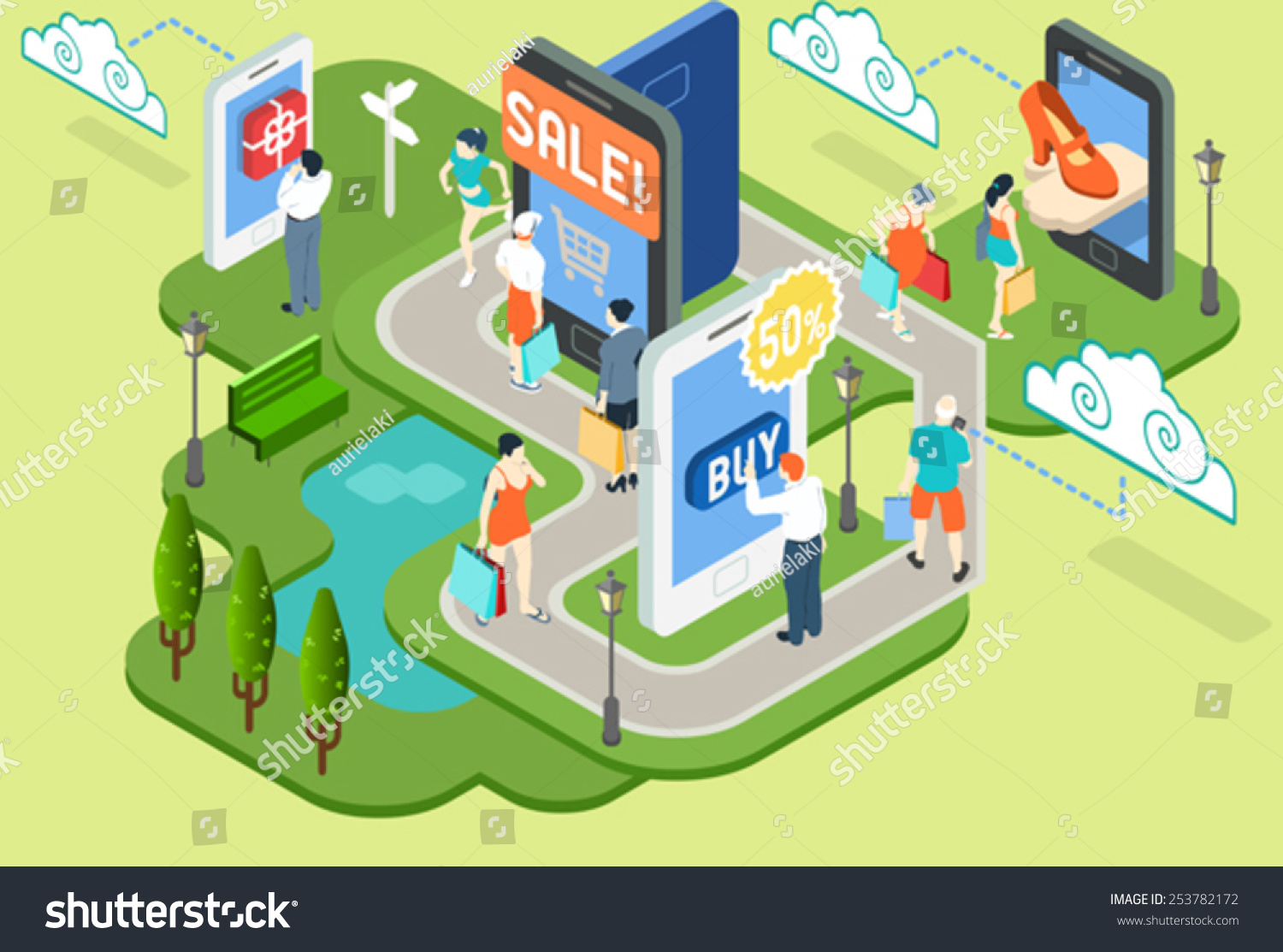 Store infographic isometric mobile virtual shopping stock for Shop mobili online