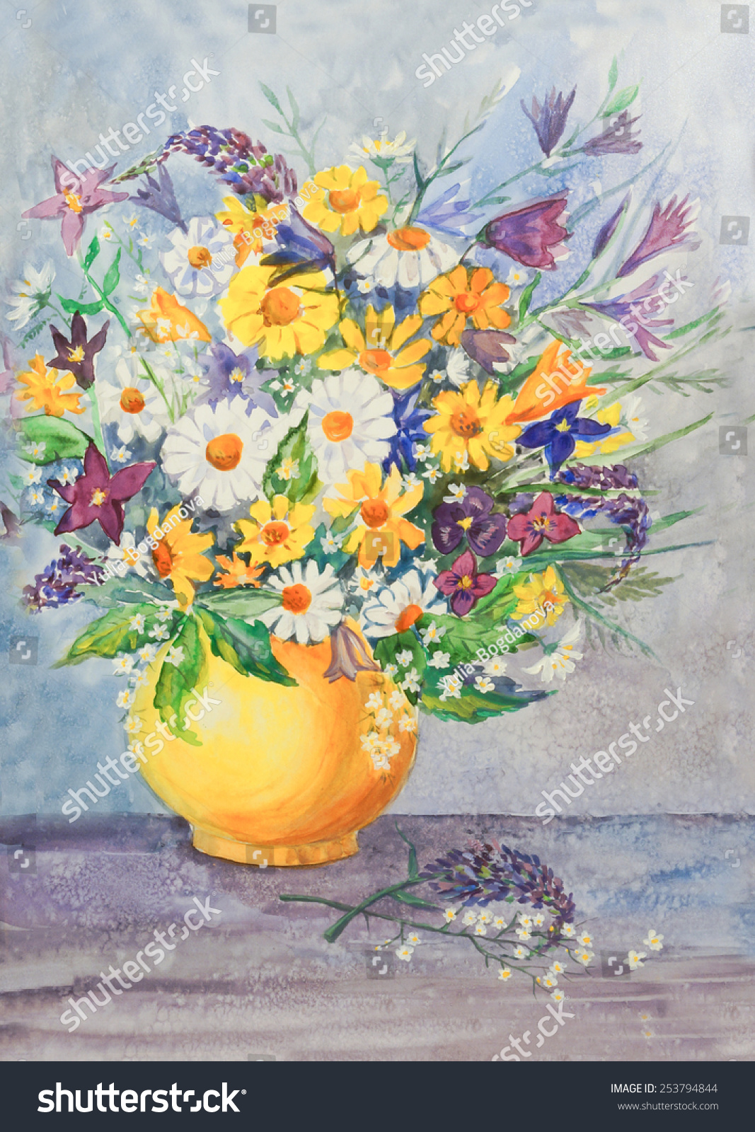 Wild flowers vase original modern painting stock illustration wild flowers in vase an original modern painting on paper watercolor floridaeventfo Images