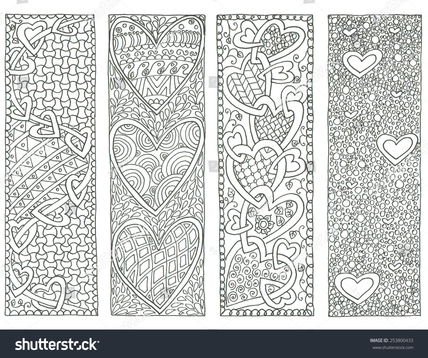 Coloring Page Valentine'S Day Bookmarks Stock Photo