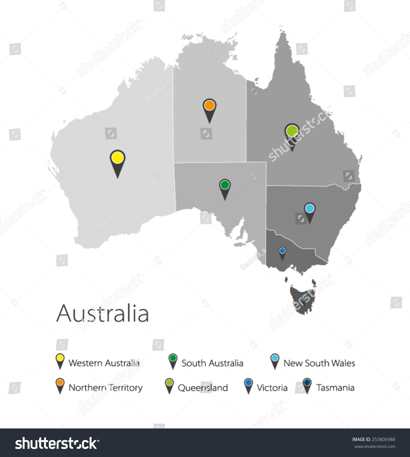 Map Australia Political Division Stock Vector Shutterstock - Australia political map