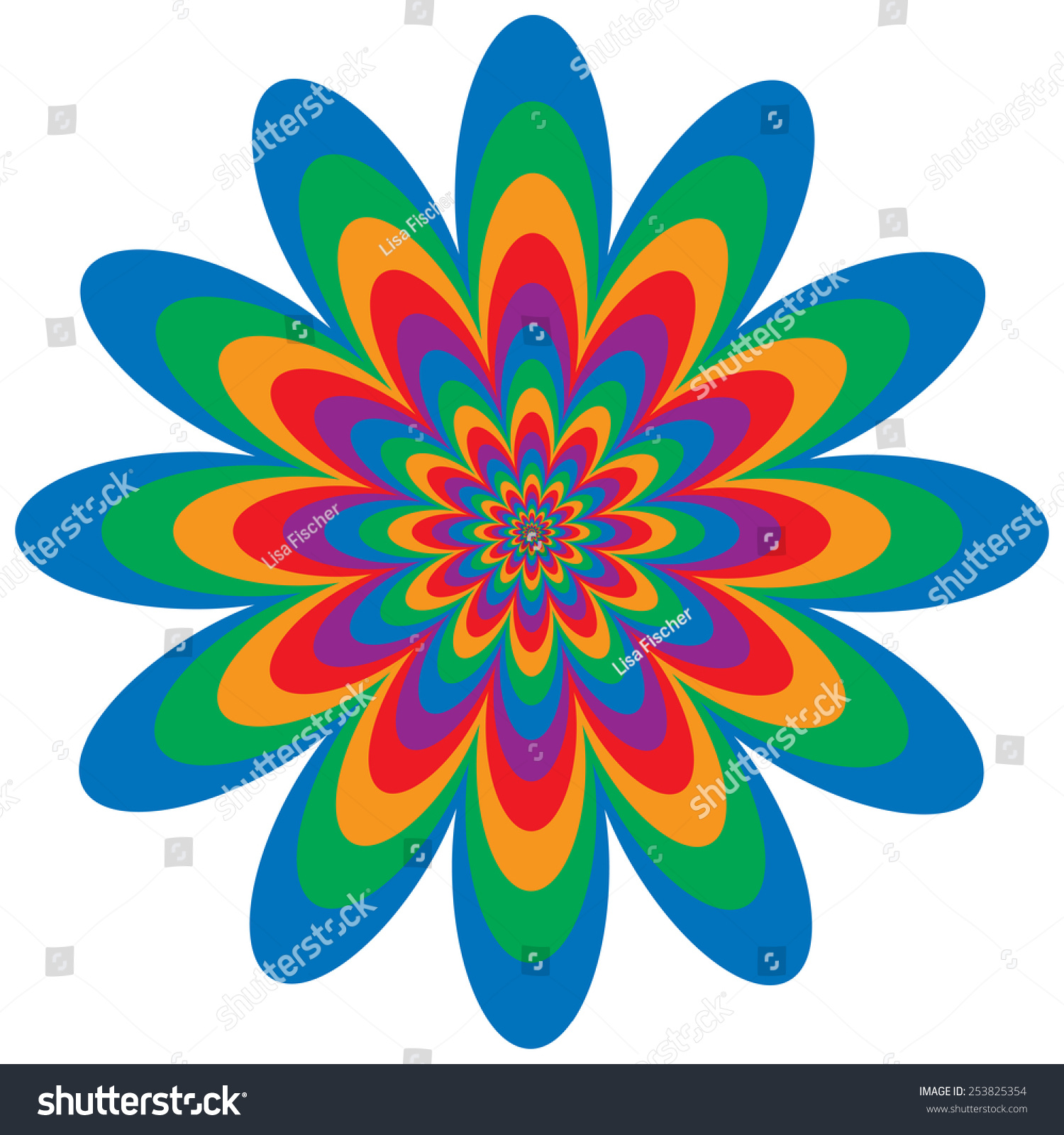 Op Art Flower Optical Illusion Design In Primary And Secondary