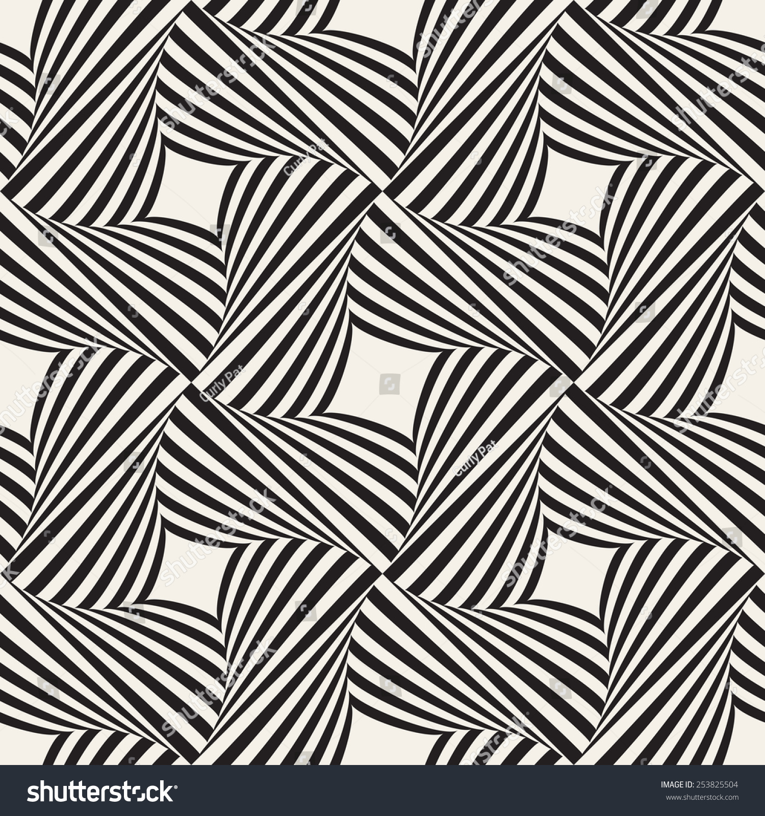 Vector seamless pattern geometric intertwined bands for A decoration that is twisted intertwined or curled