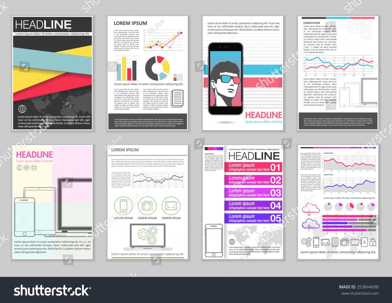 Set Brochure Template Infographic Elements Charts Stock Vector - Infographic brochure template