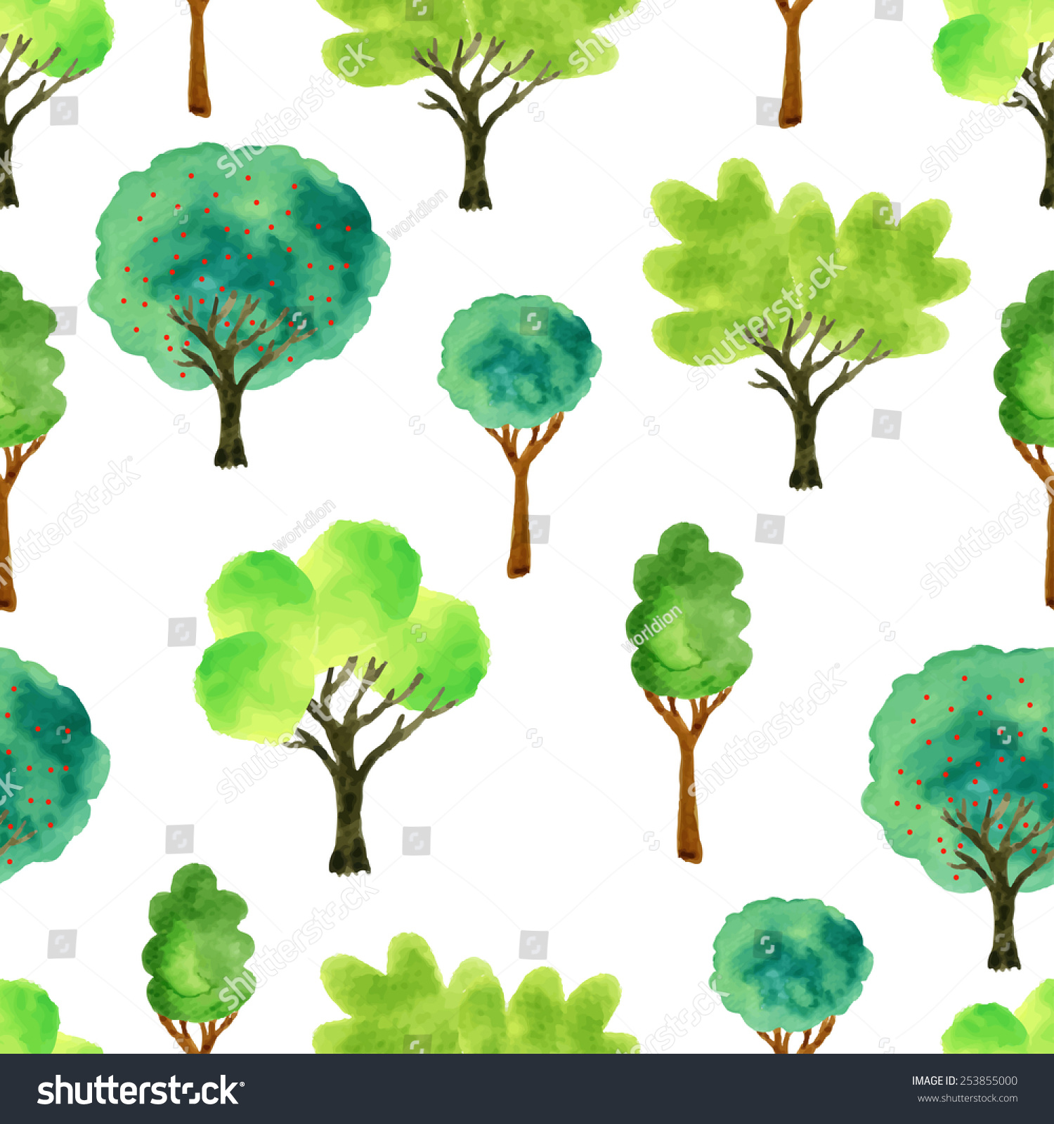 Fabric tree pattern - Cute Watercolor Tree Spring Seamless Pattern Vector Illustration For Fabric Paper And Other