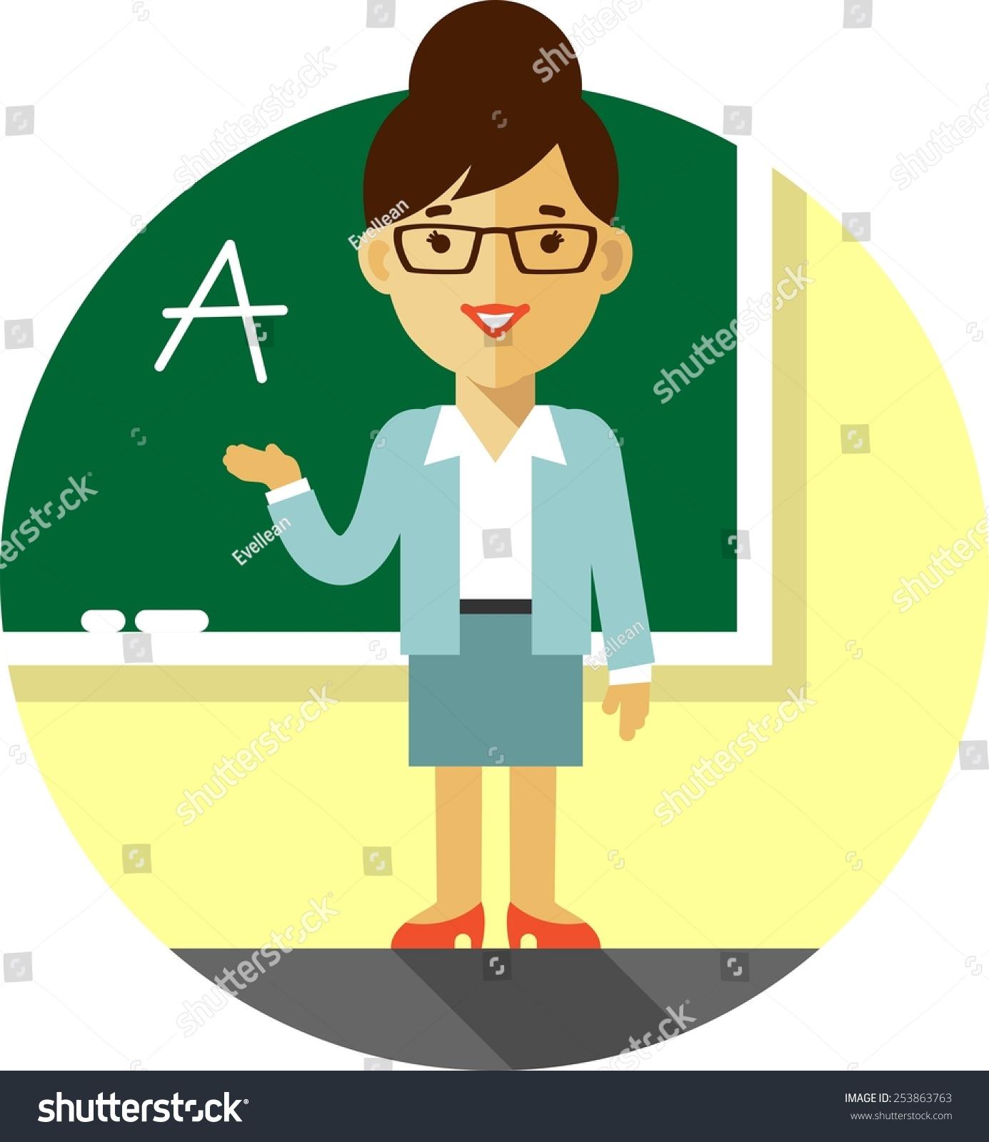 Vector Illustration Flat Style Woman Teacher Stock Vector ...