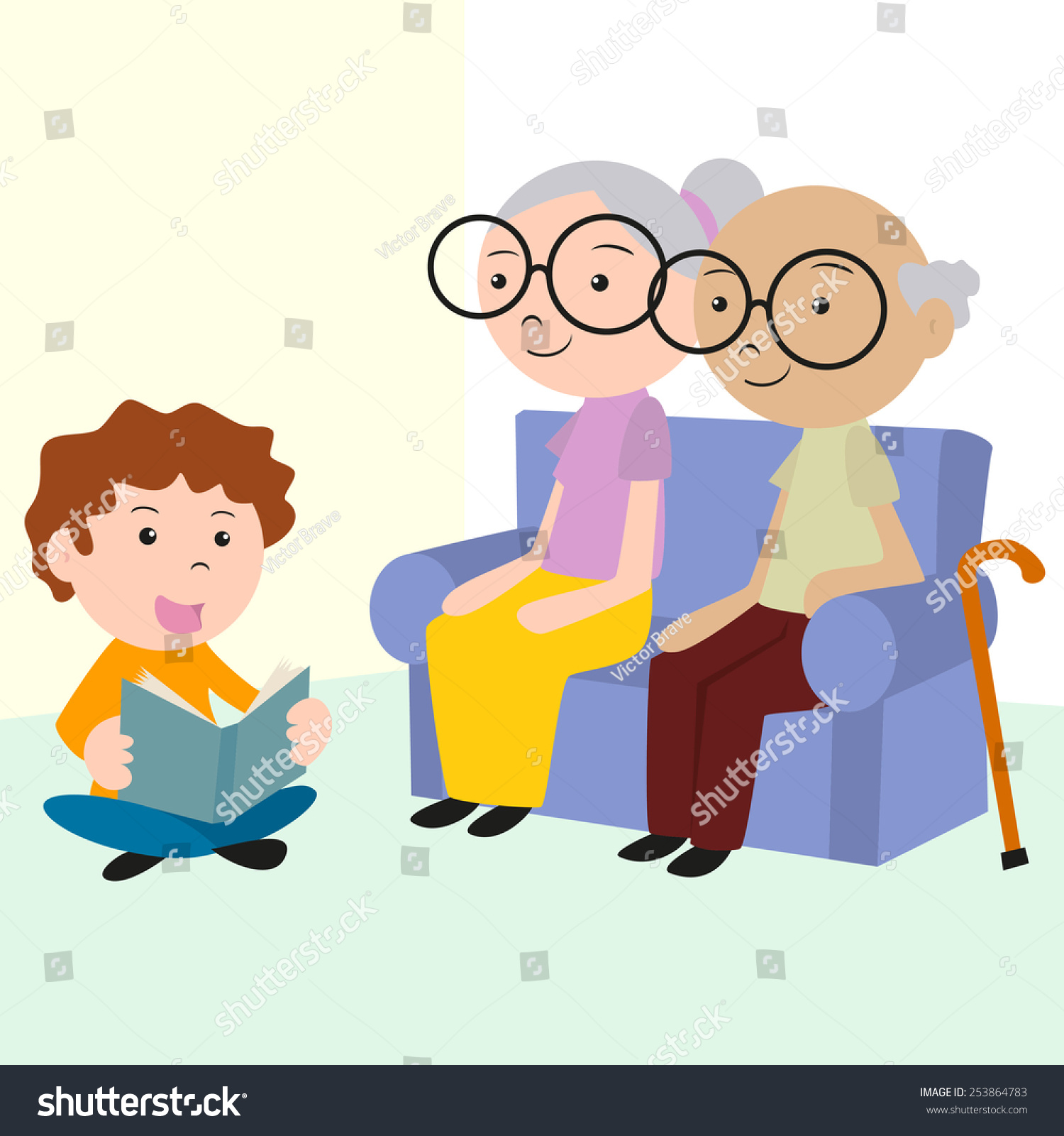 Child Caring Elderly Reading Book Vector Stock Vector ...