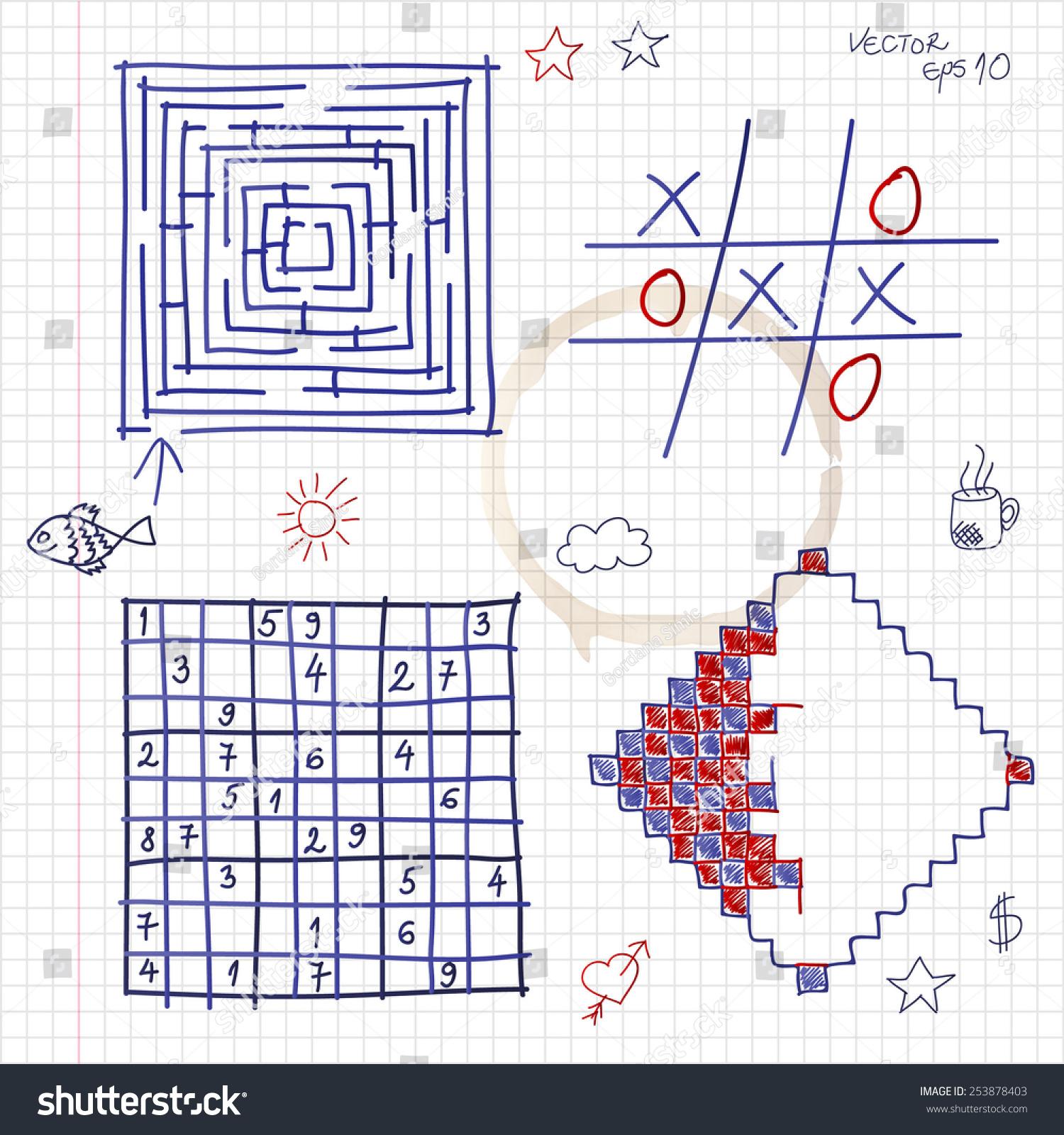 Hand Drawn Games Notepad Vector Eps10 Stock Vector (Royalty