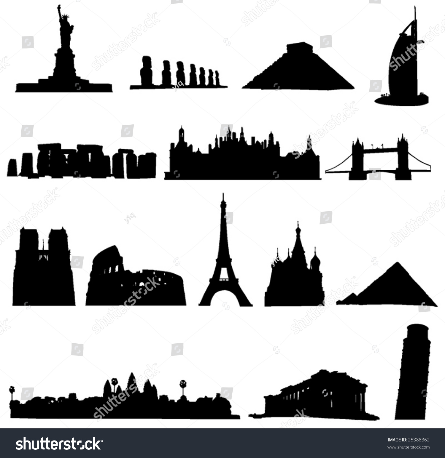 world renowned architecture and relics silhouette stock