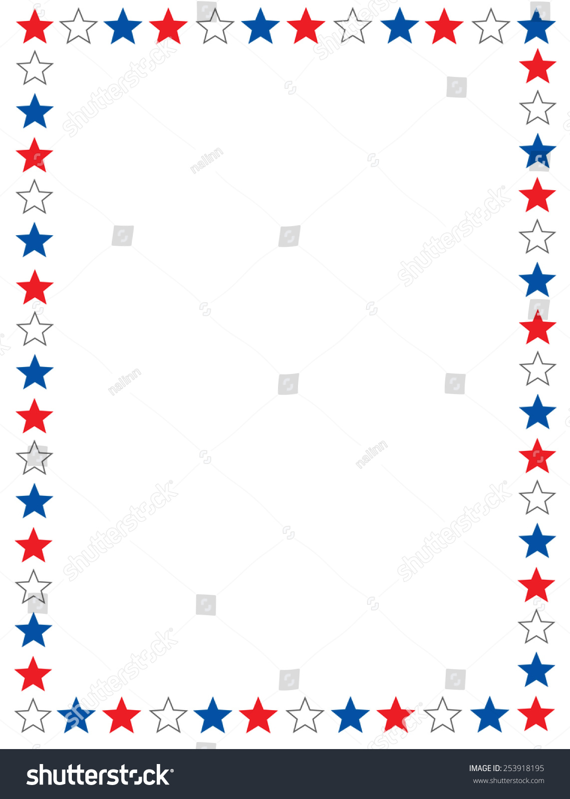 Red Blue White Stars 4th July Stock Vector 253918195 ...