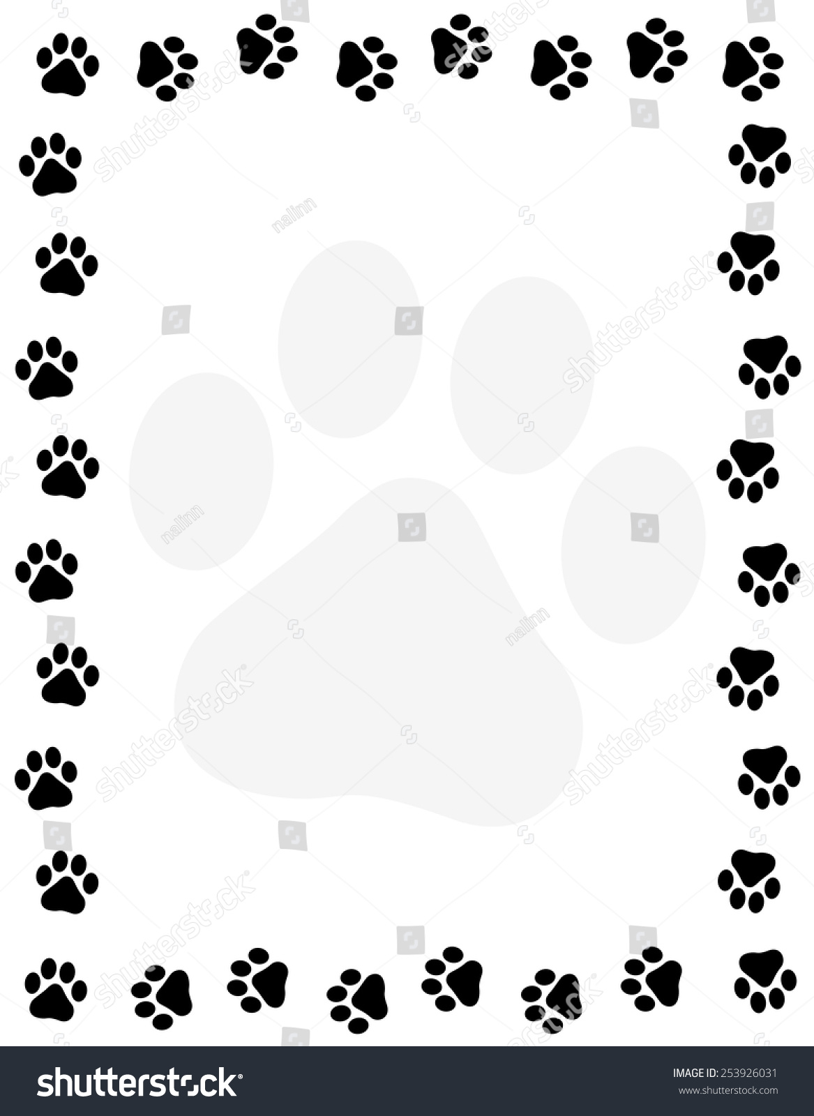 Dog Paw Print Border Frame On Stock Vector Royalty Free 253926031