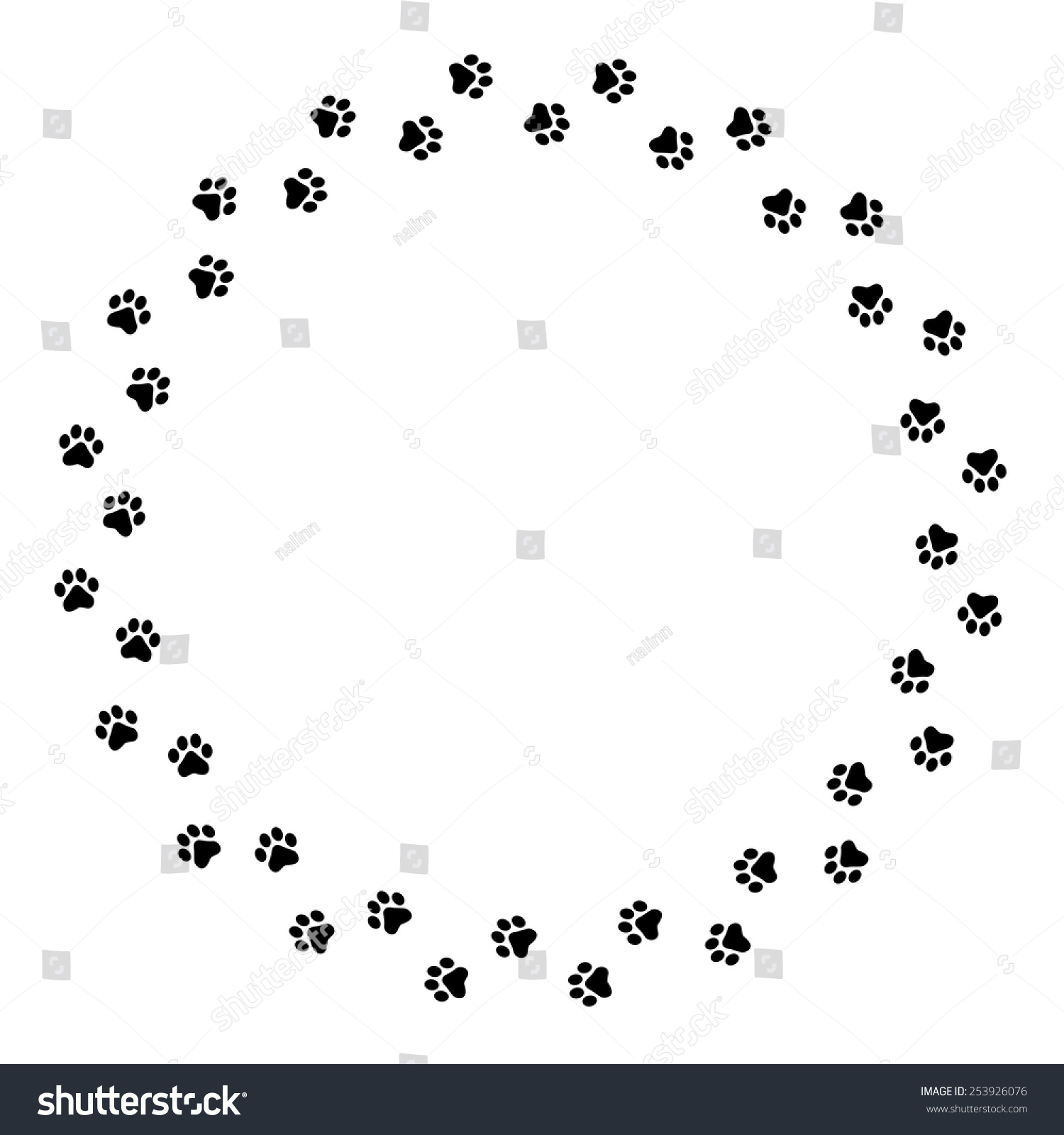 Black Dog Paw Prints Circle Frame Stock Vector 253926076 - Shutterstock