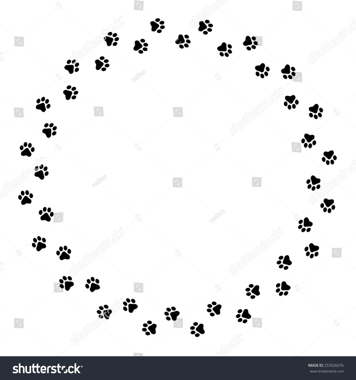 Black Dog Paw Prints Circle Frame / Border Stock Vector 253926076 ...