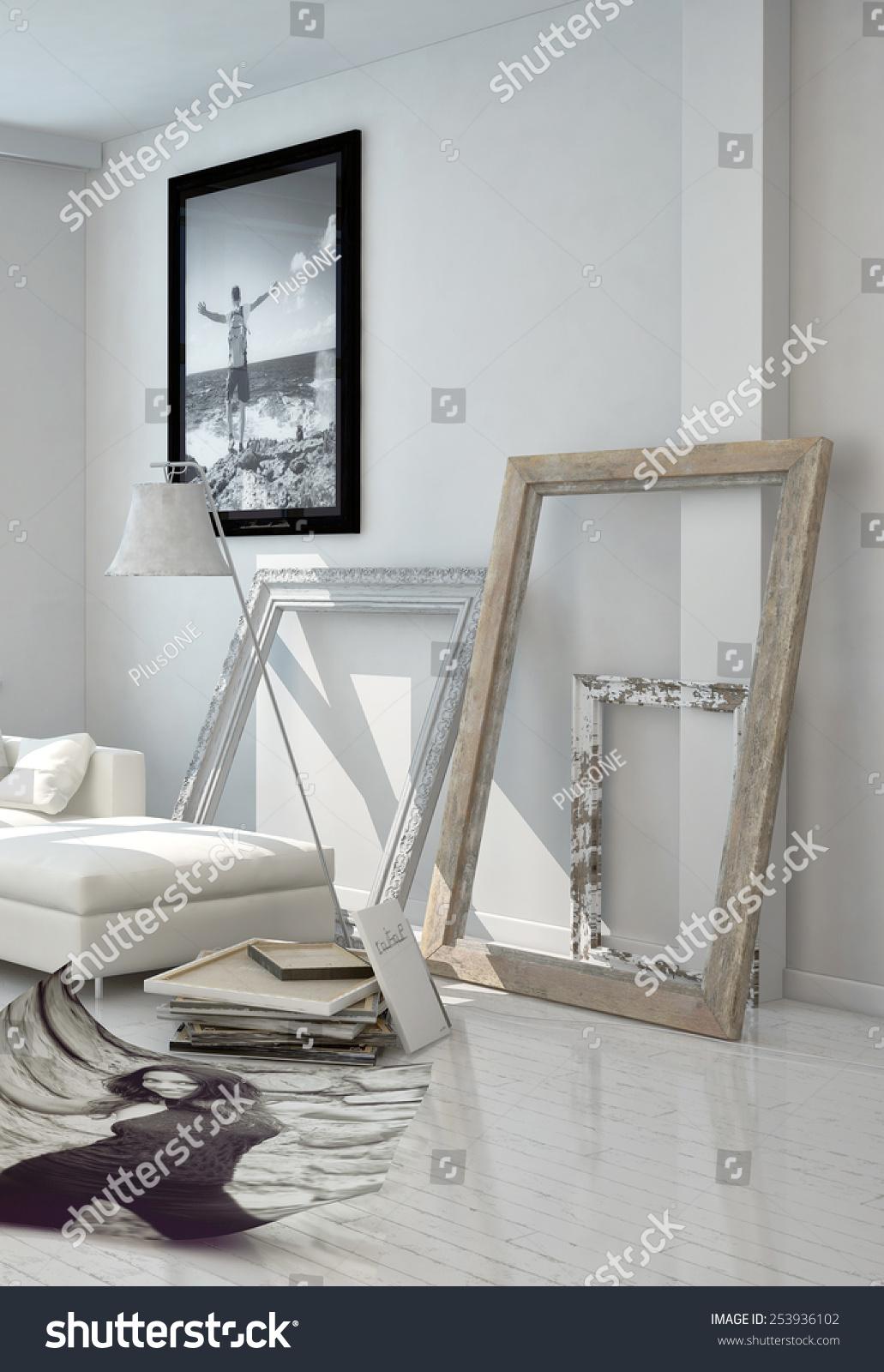 3 D Rendering Artistic Wooden Frame Borders Stock Illustration ...