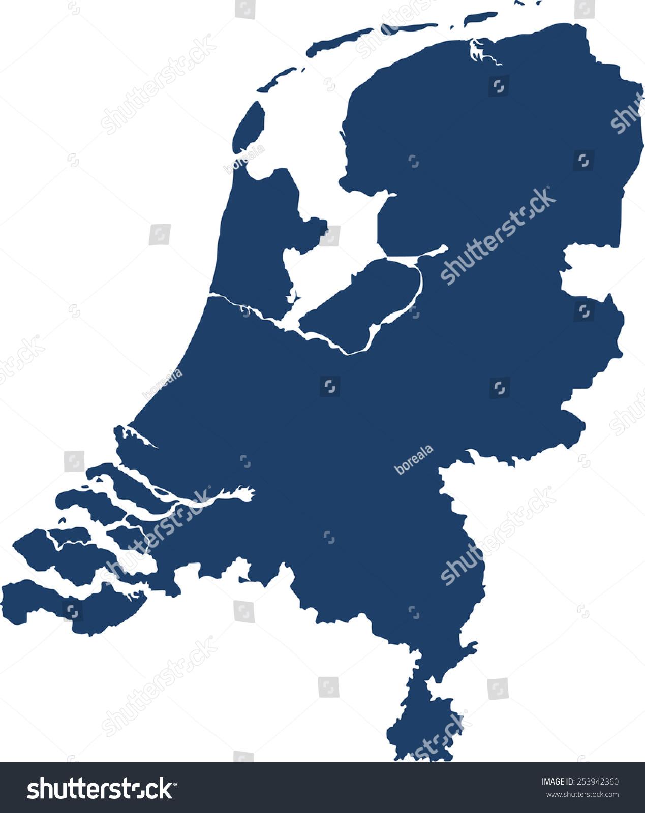 Netherlands Map Stock Vector 253942360 Shutterstock
