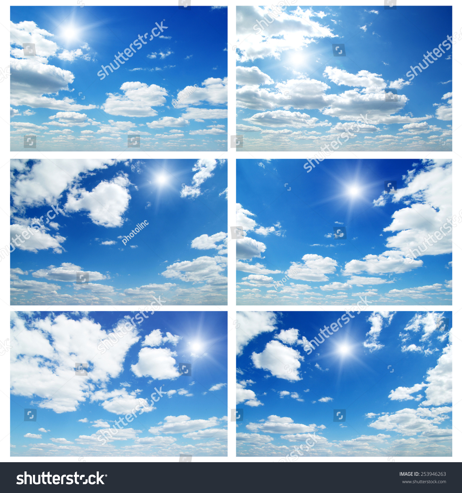 Sky daylight collection. Natural sky composition. Collage #253946263
