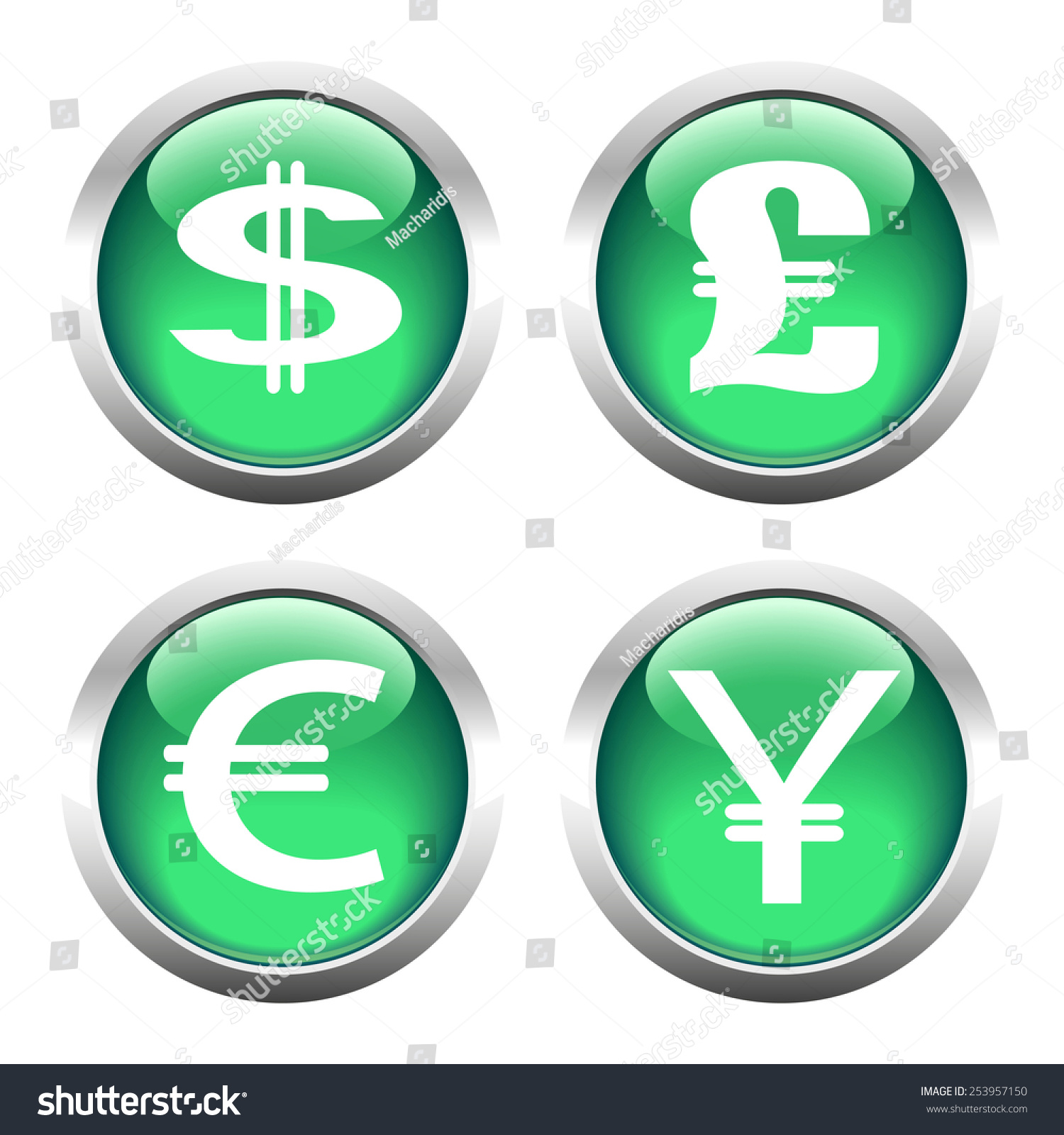 Set buttons web currency symbols dollar stock vector 253957150 set of buttons for web currency symbols dollar euro pound yen buycottarizona Choice Image