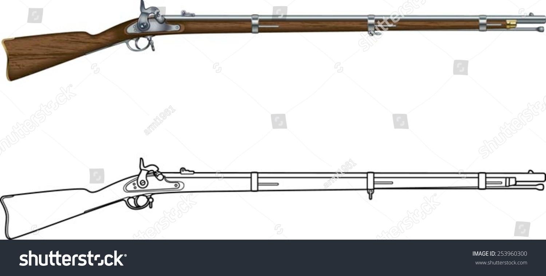 american civil war springfield muzzle loader stock vector handgun clip art black and white free handgun clipart