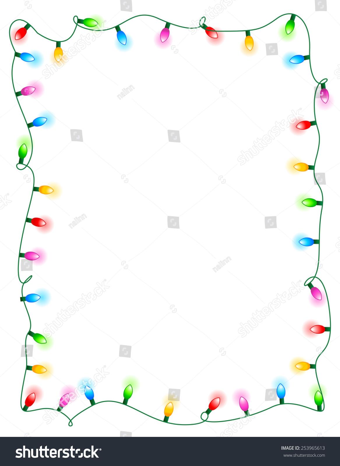 colorful glowing christmas lights border frame colorful holiday lights illustration - Christmas Lights Frame