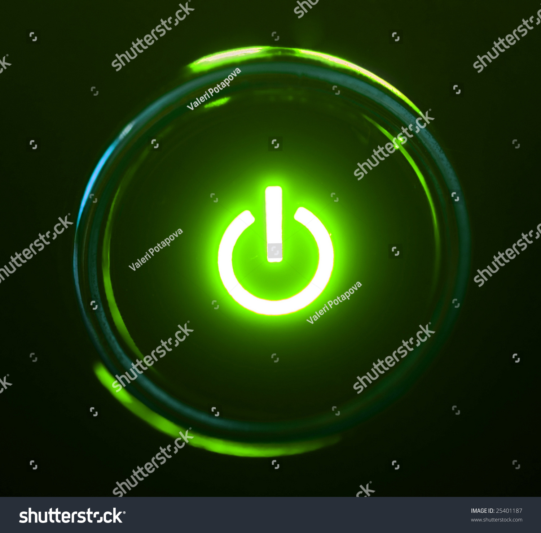 Monitor Power Button : Monitor power button closeup in darkness stock photo
