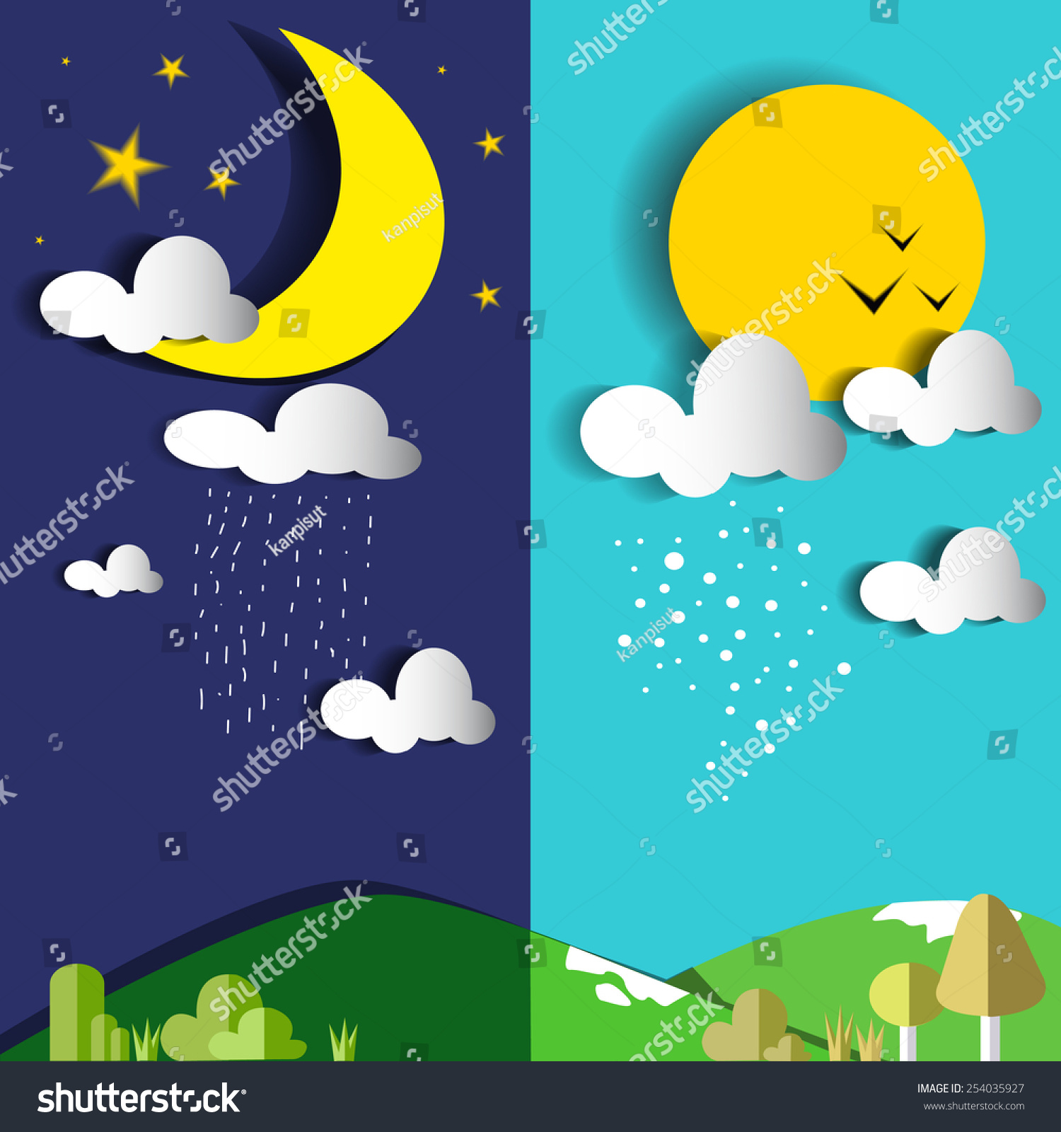 day night sun moon vector illustrationflat stock vector 254035927 shutterstock. Black Bedroom Furniture Sets. Home Design Ideas