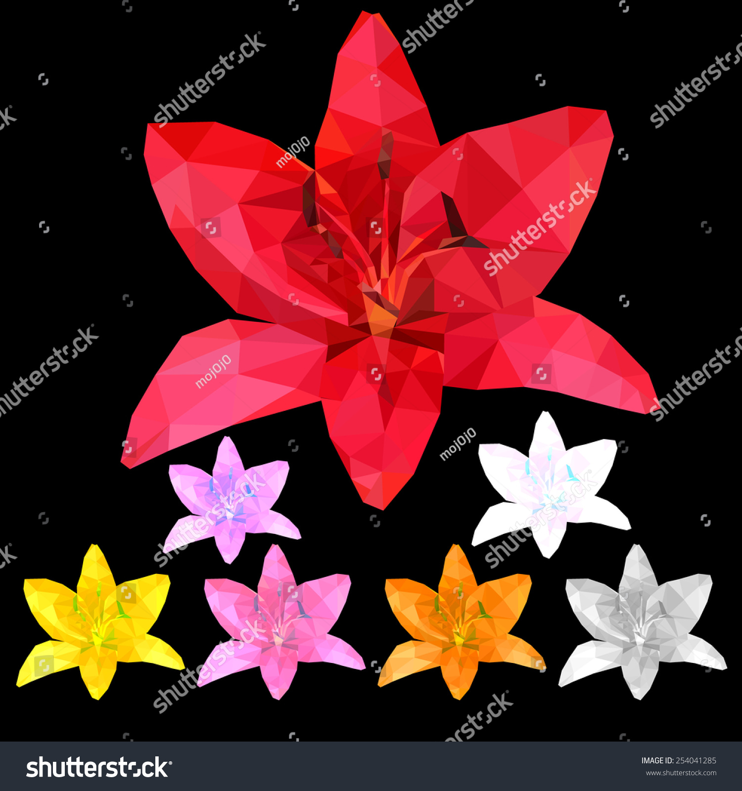Set Seven Color Lily Flower Pollen Stock Vector Royalty Free